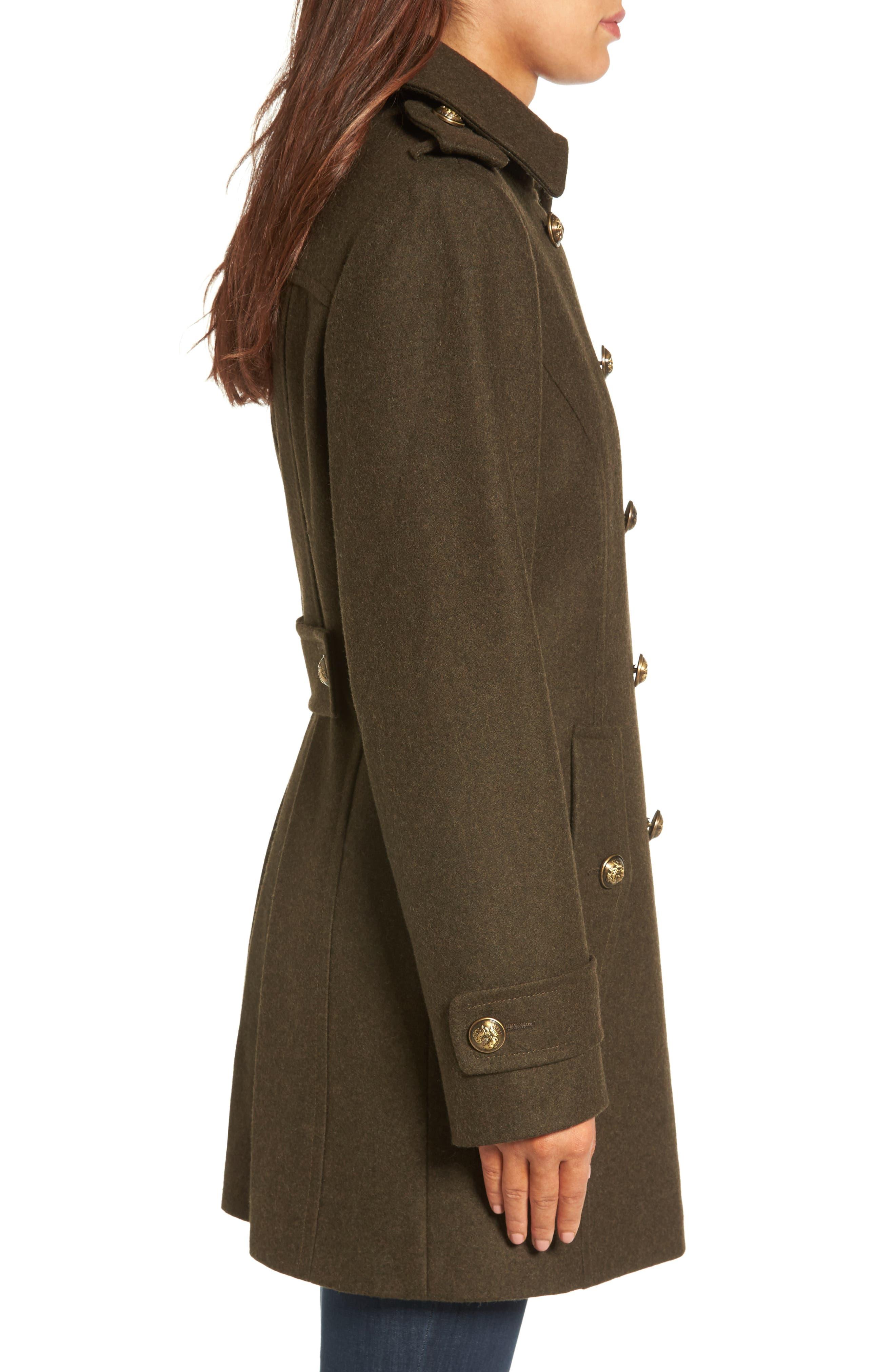 Wool Blend Skirted Military Coat,                             Alternate thumbnail 3, color,                             Olive