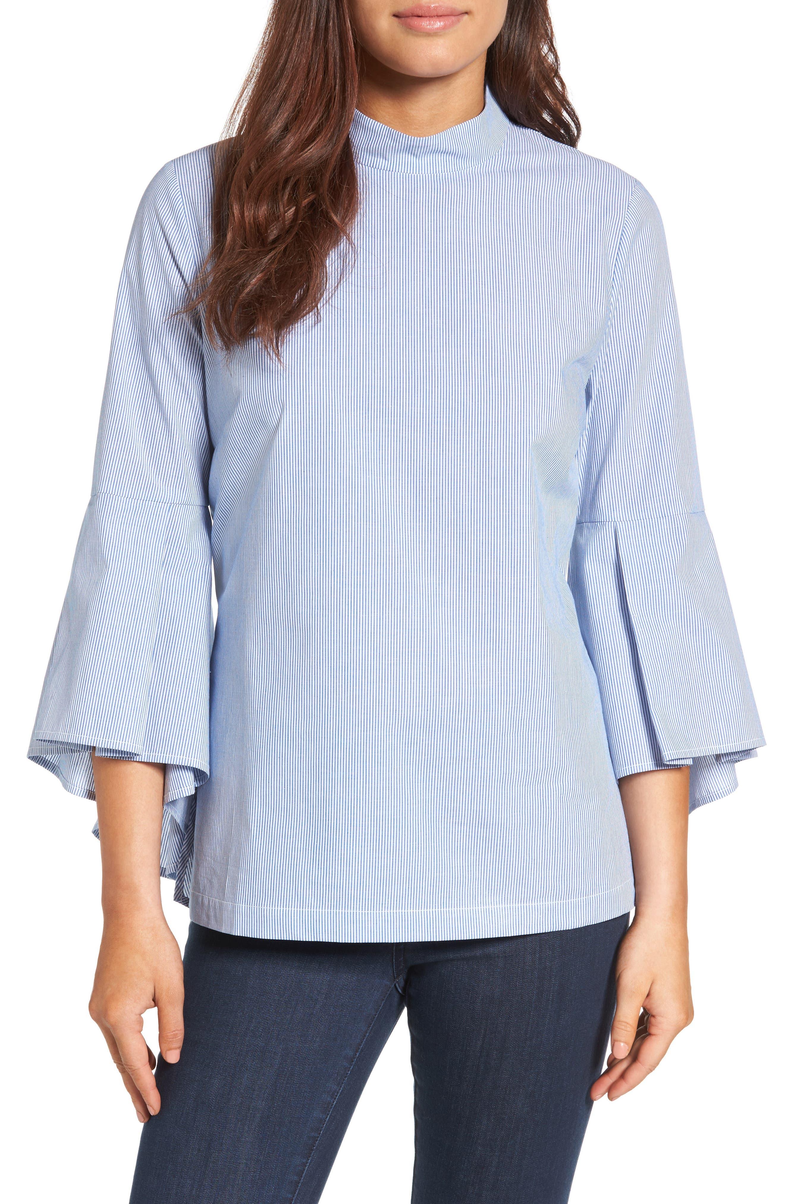 Ruffle Sleeve Poplin Shirt,                         Main,                         color, Blue/ White Stripe