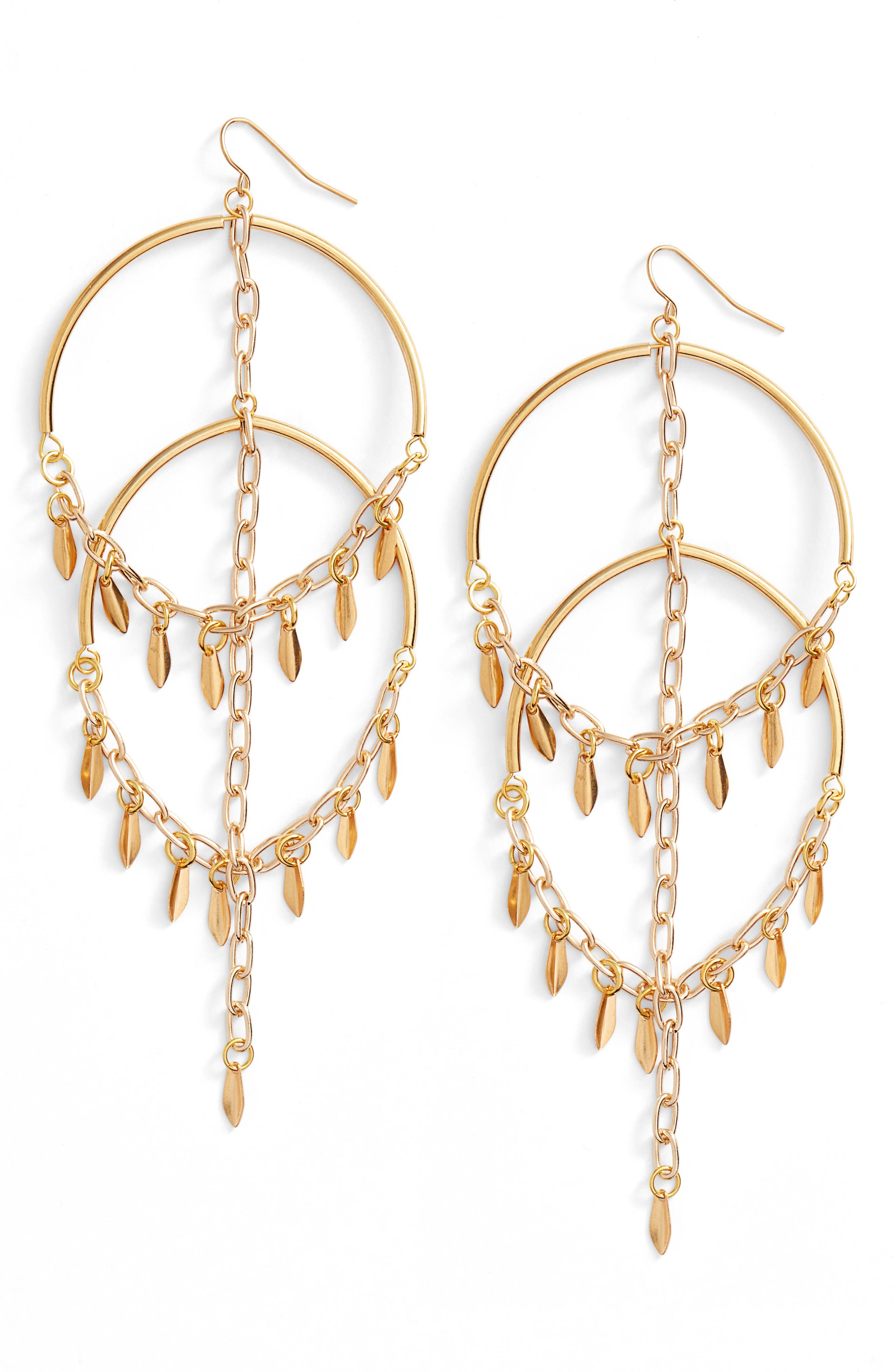Cannes Chandelier Earrings,                         Main,                         color, Gold