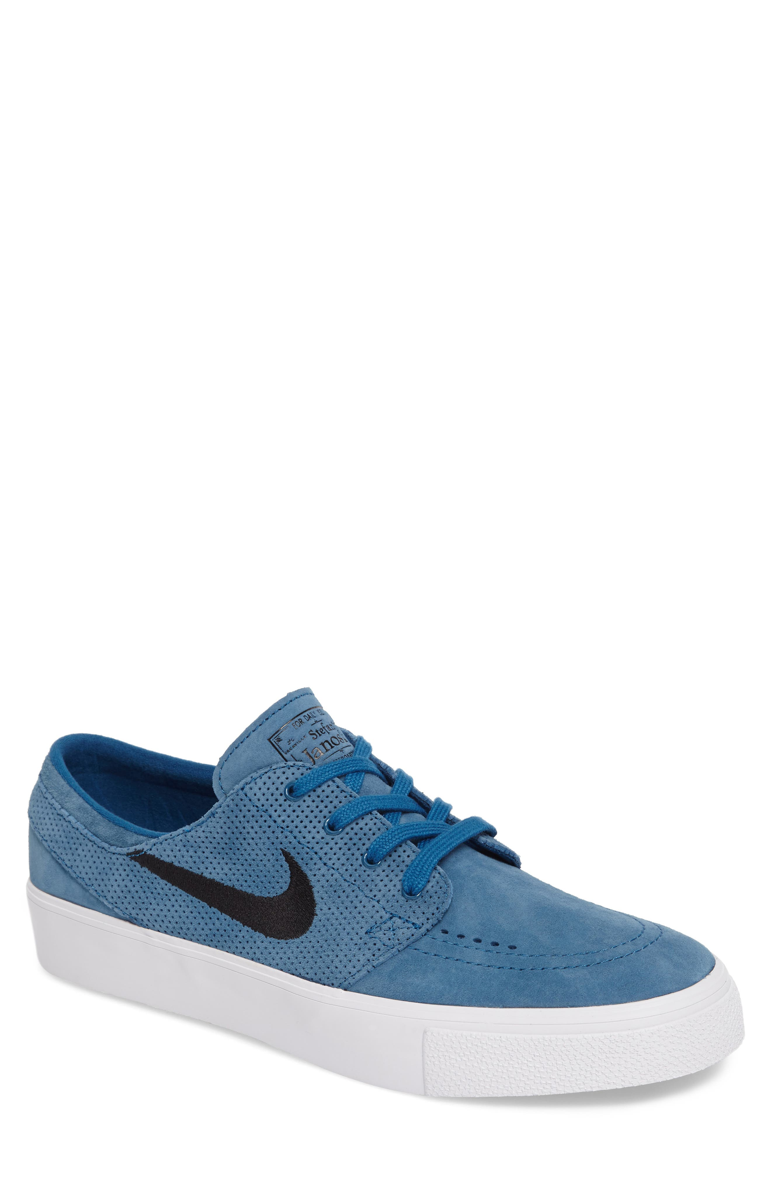 Zoom Stefan Janoski Premium Skate Sneaker,                             Main thumbnail 1, color,                             Industrial Blue/ Black