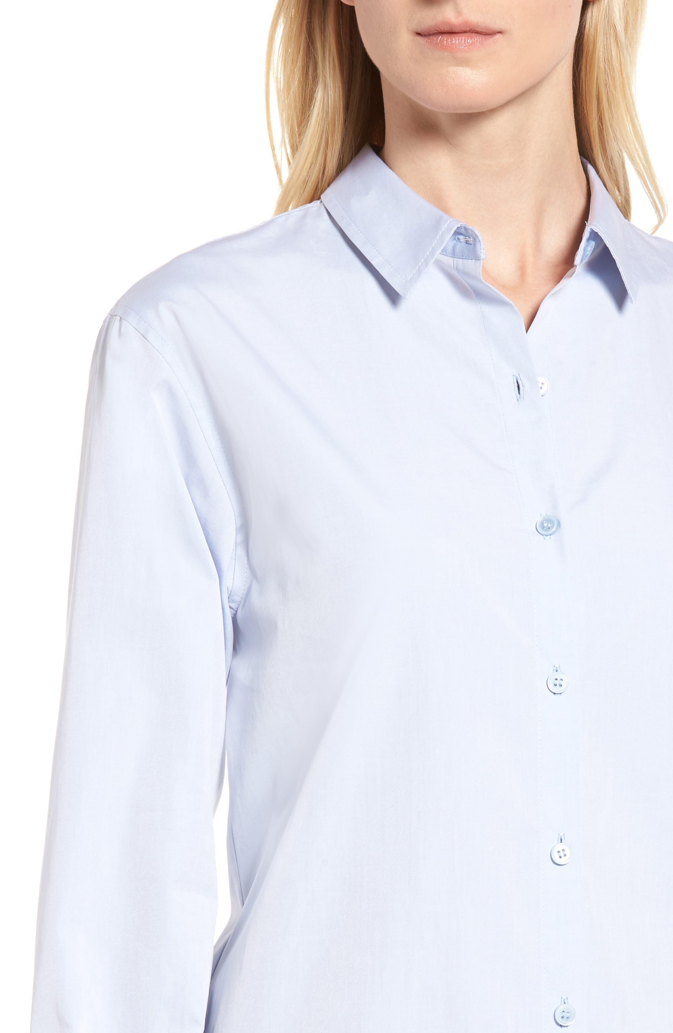 Alternate Image 4  - Nordstrom Signature Solid Poplin Shirtdress