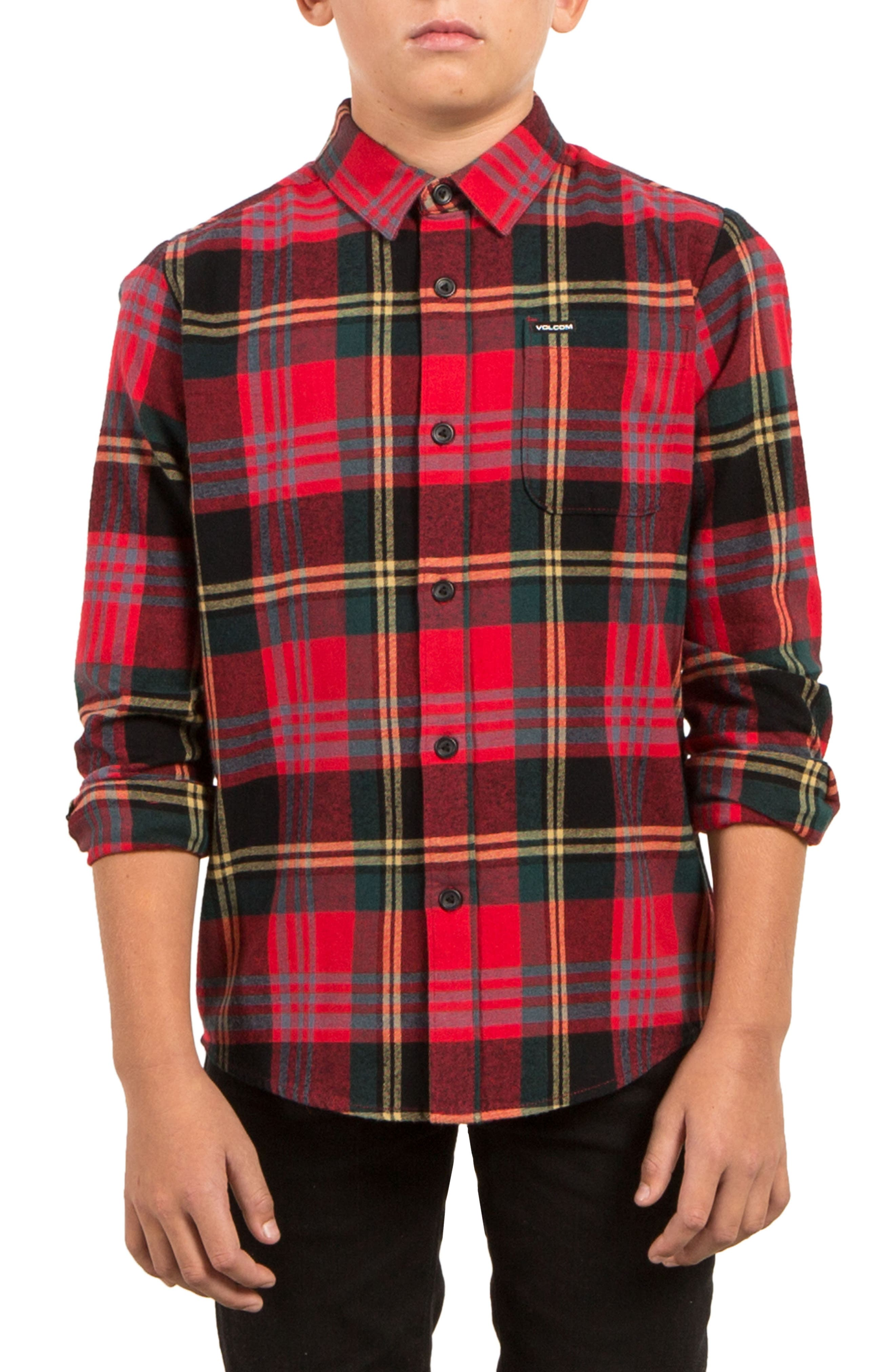 Caden Plaid Flannel Shirt,                         Main,                         color, True Red