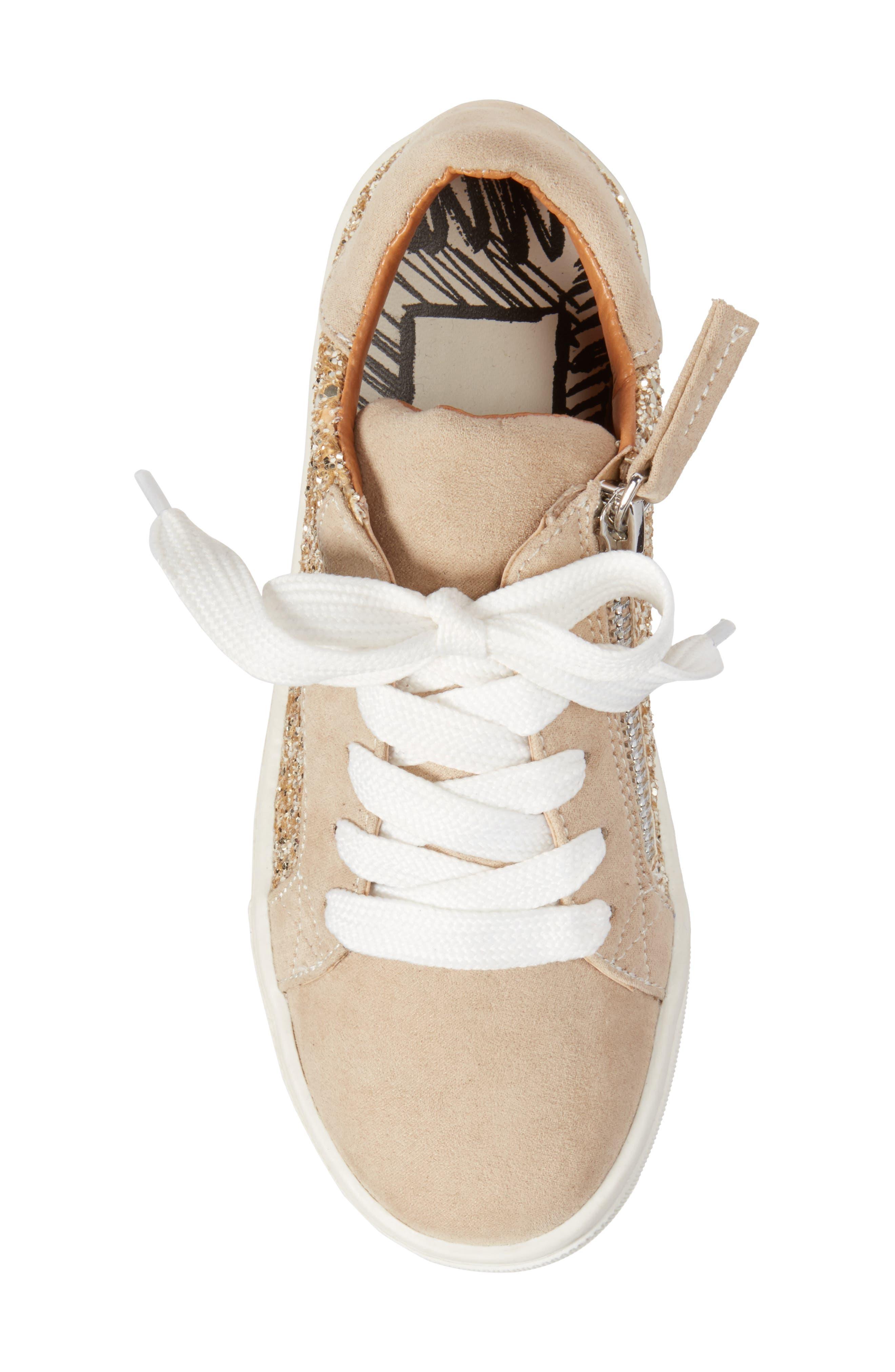 Zaida Low Top Sneaker,                             Alternate thumbnail 5, color,                             Gold Glitter