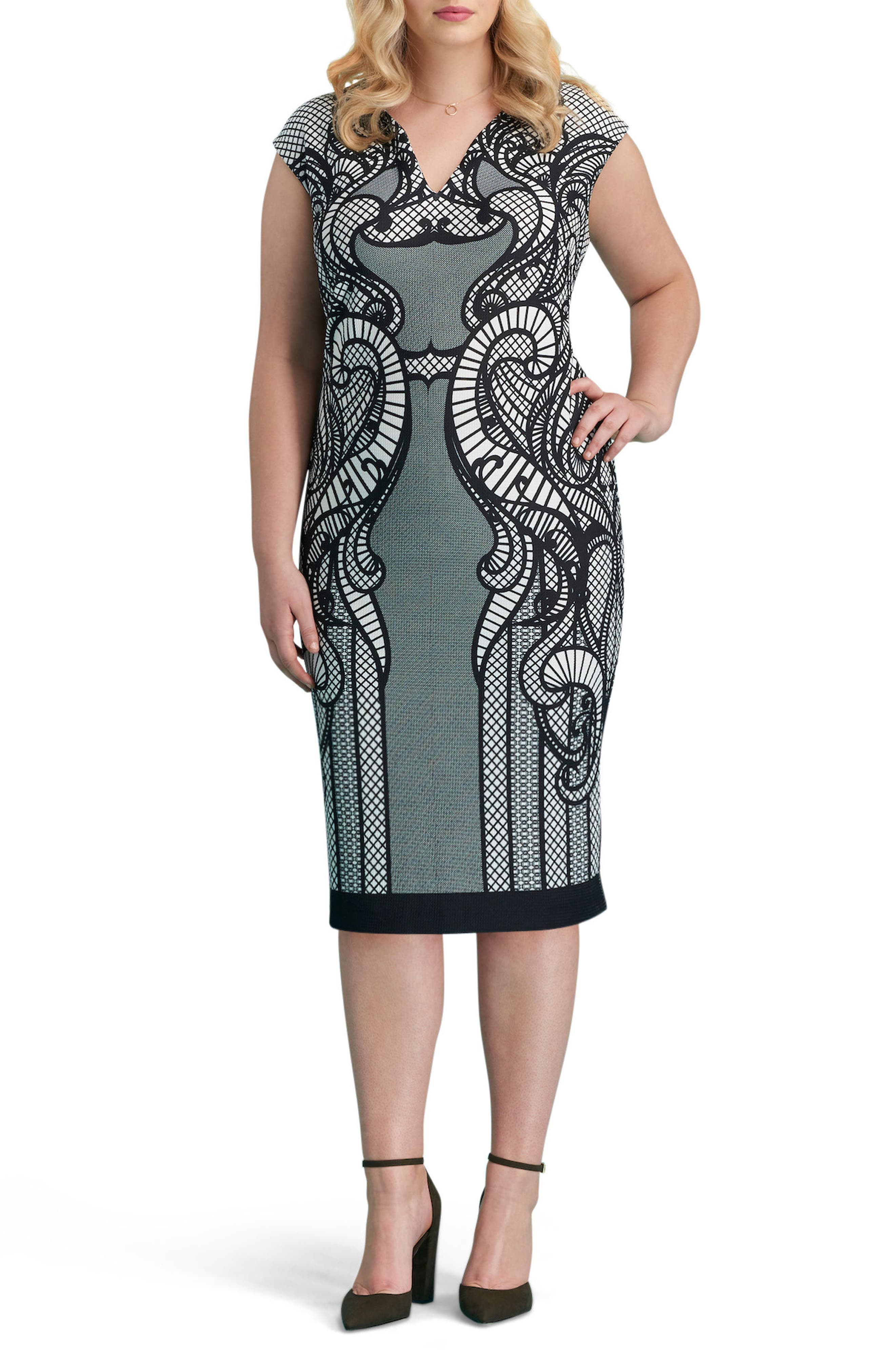 Print Piqué Sheath Dress,                             Main thumbnail 1, color,                             Black/ White