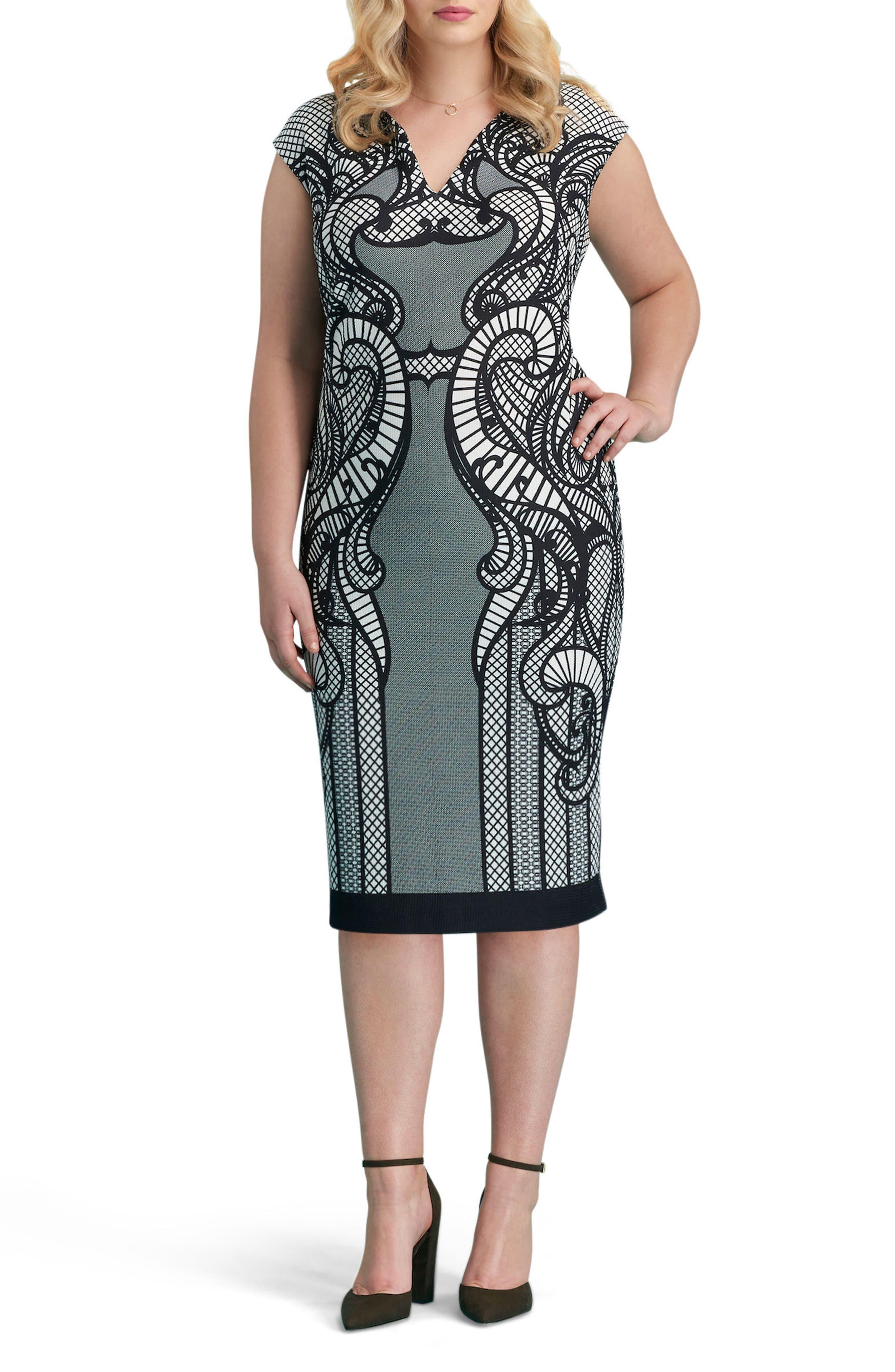 Main Image - ECI Print Piqué Sheath Dress (Plus Size)
