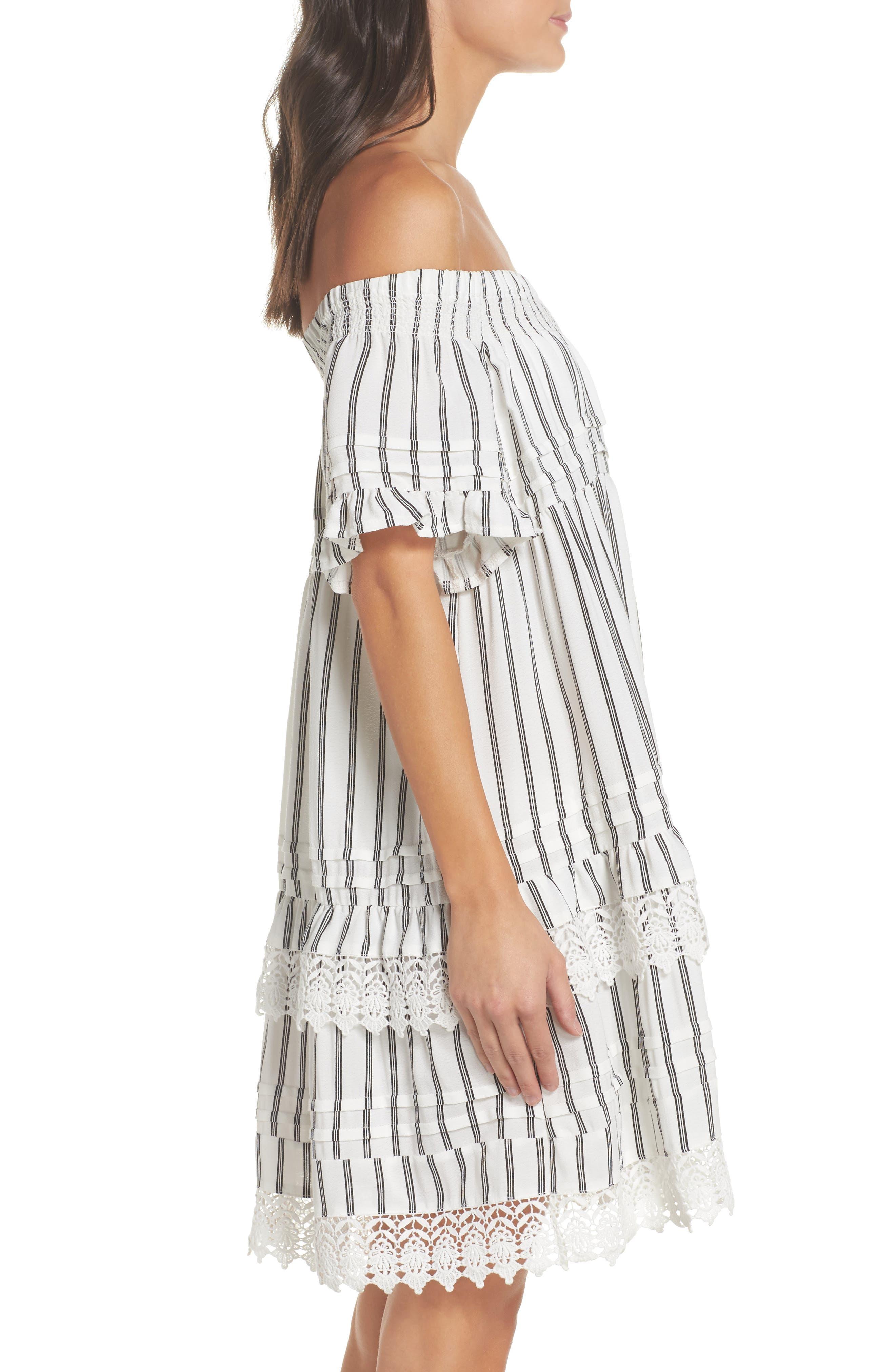 Off the Shoulder Cover-Up Dress,                             Alternate thumbnail 2, color,                             Ivory/ Black