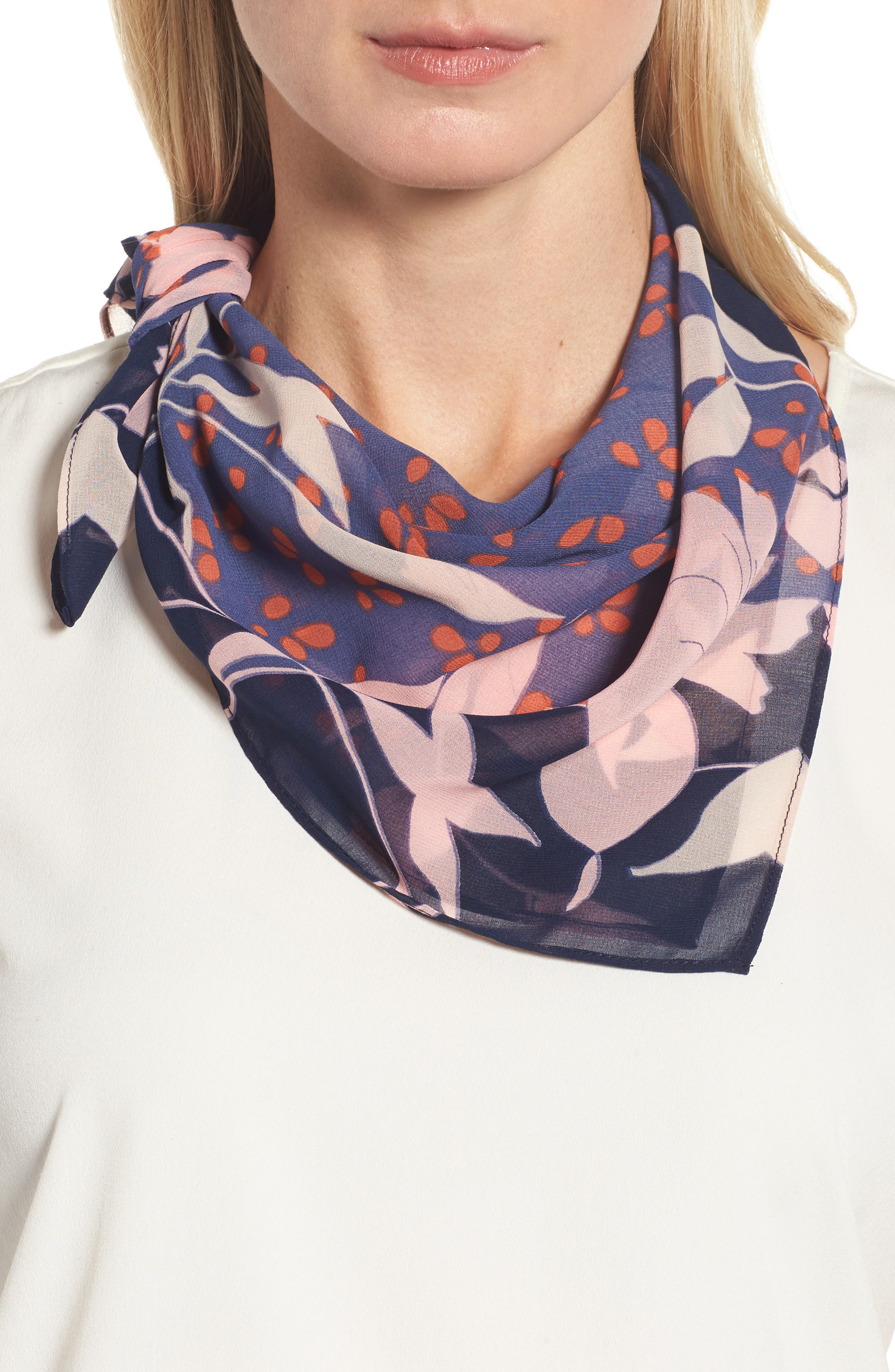 Floral Square Scarf,                             Main thumbnail 1, color,                             Navy Combo