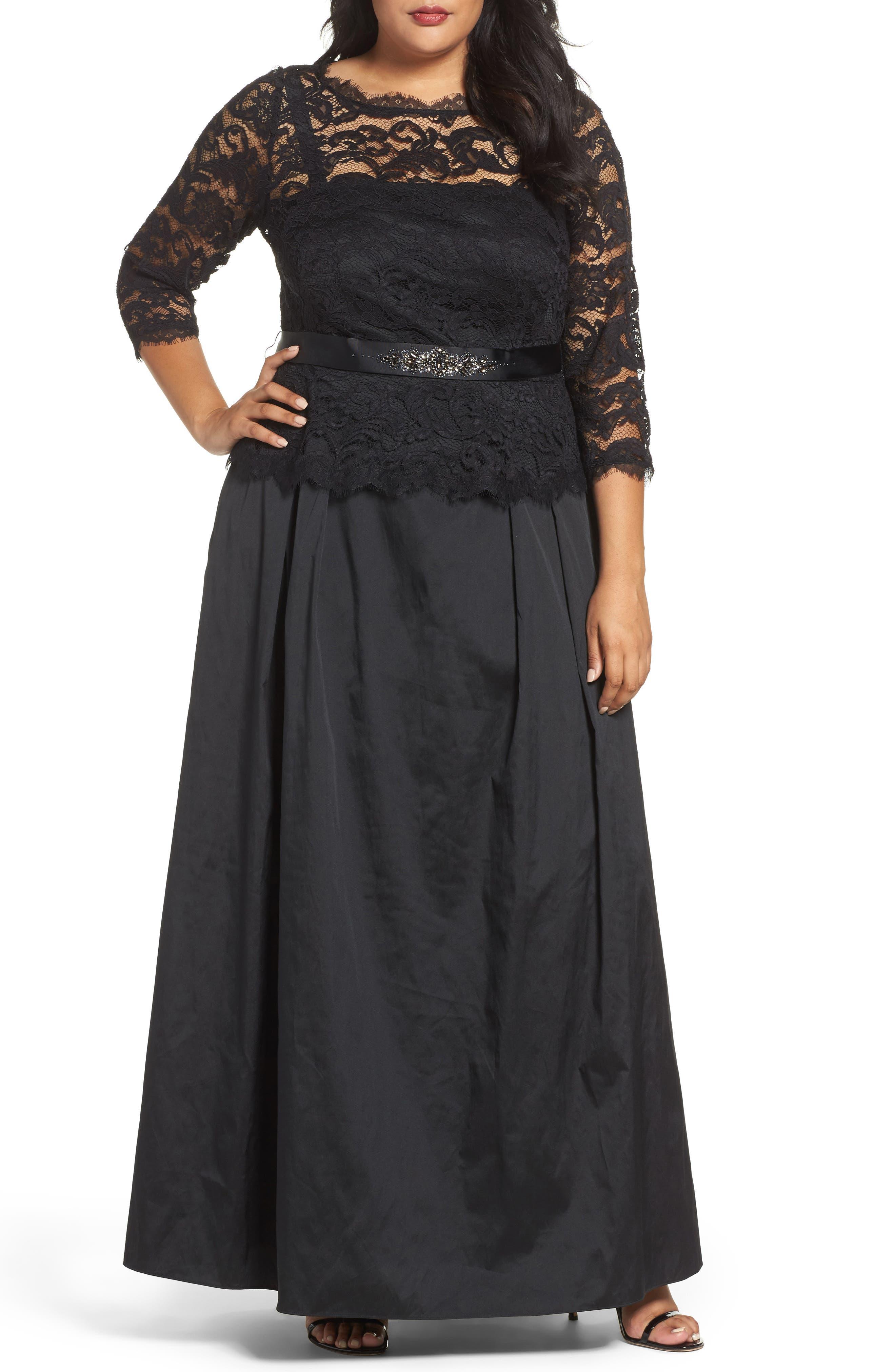 Nouveau Scroll Illusion Lace Gown,                         Main,                         color, Black