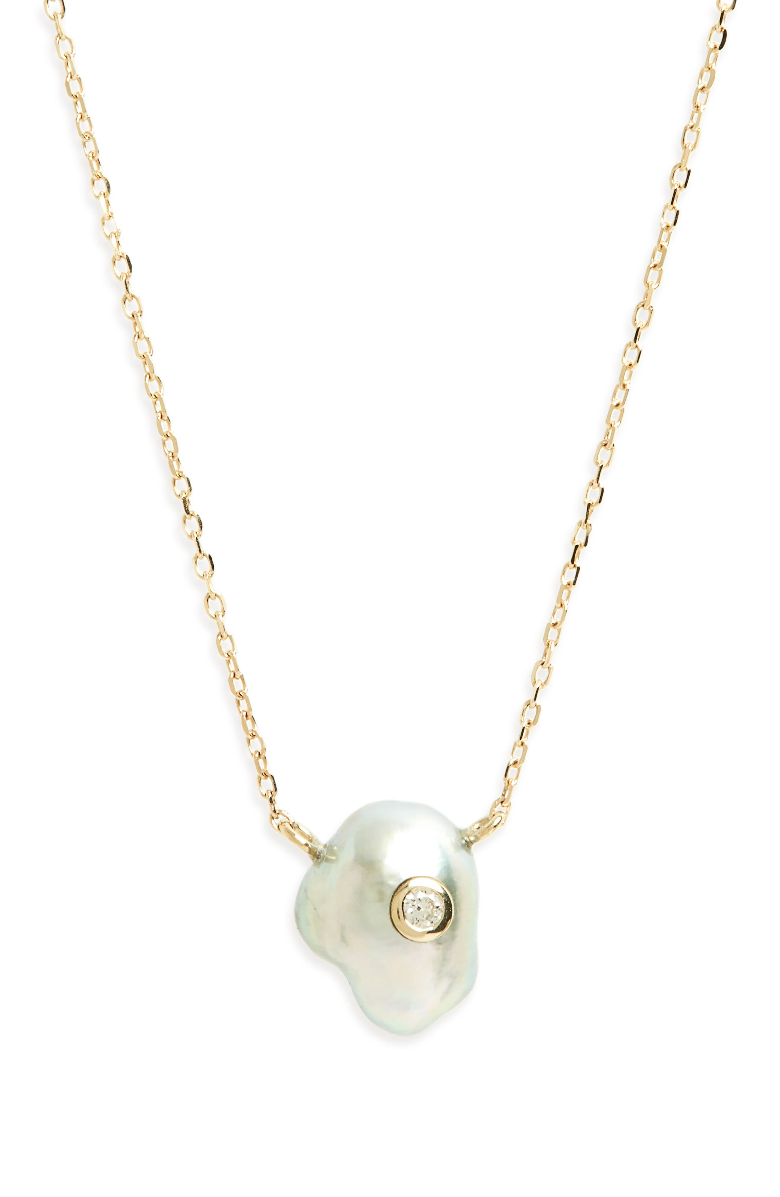 Sea of Beauty Pearl & Diamond Pendant Necklace,                         Main,                         color, Yellow Gold/ Grey Pearl