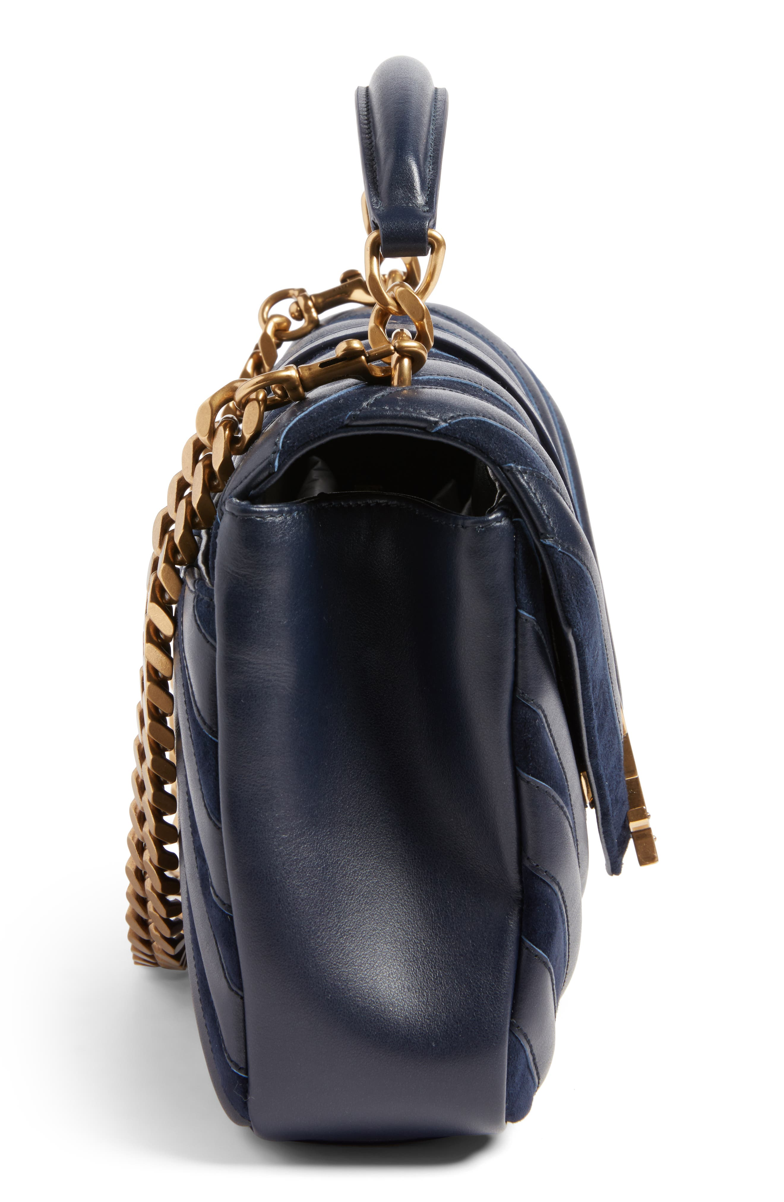 Medium College Patchwork Suede & Leather Shoulder Bag,                             Alternate thumbnail 5, color,                             Deep Marine