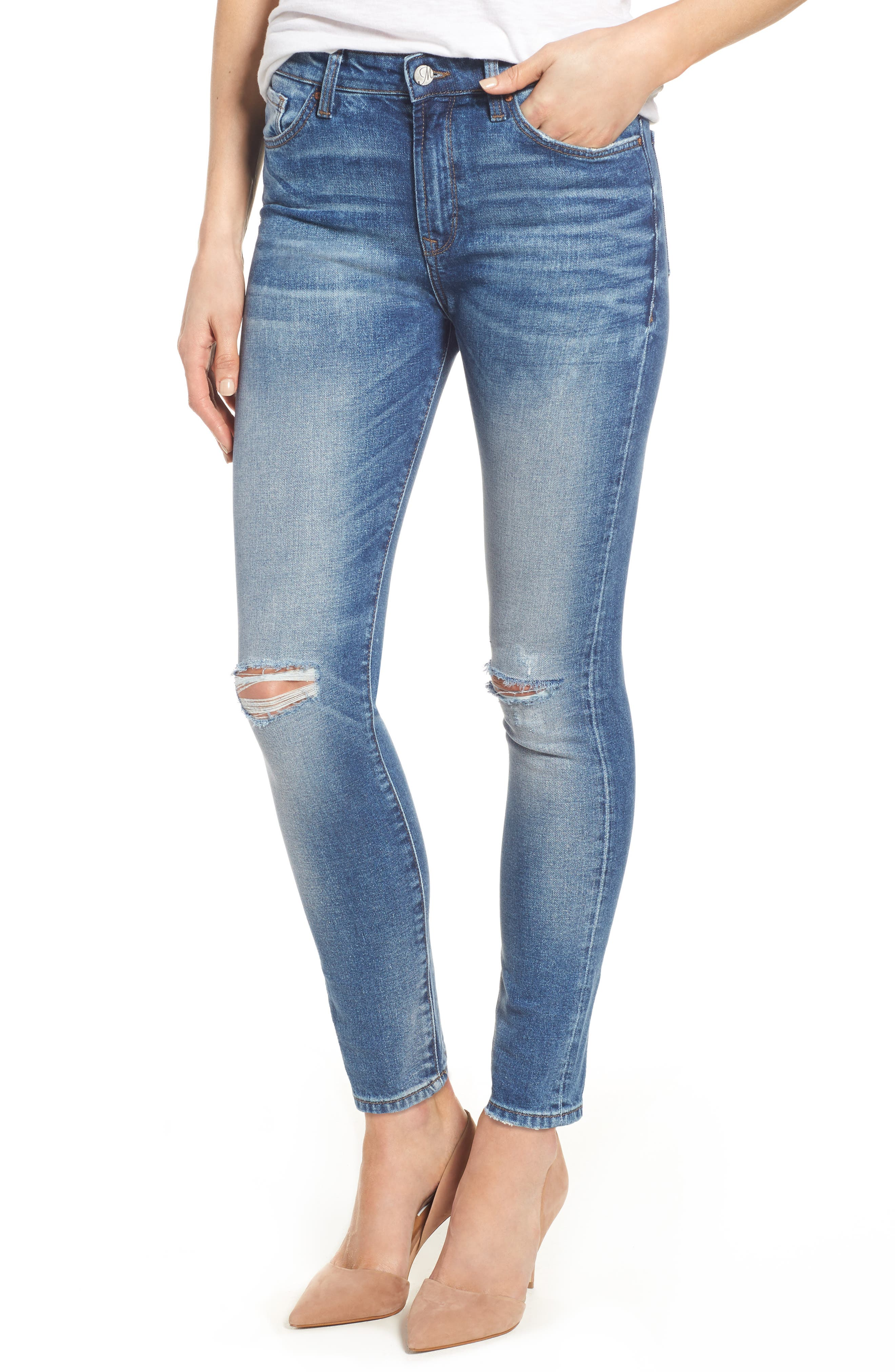 Alternate Image 1 Selected - Mavi Jeans Lucy Ripped Skinny Jeans (Foggy)