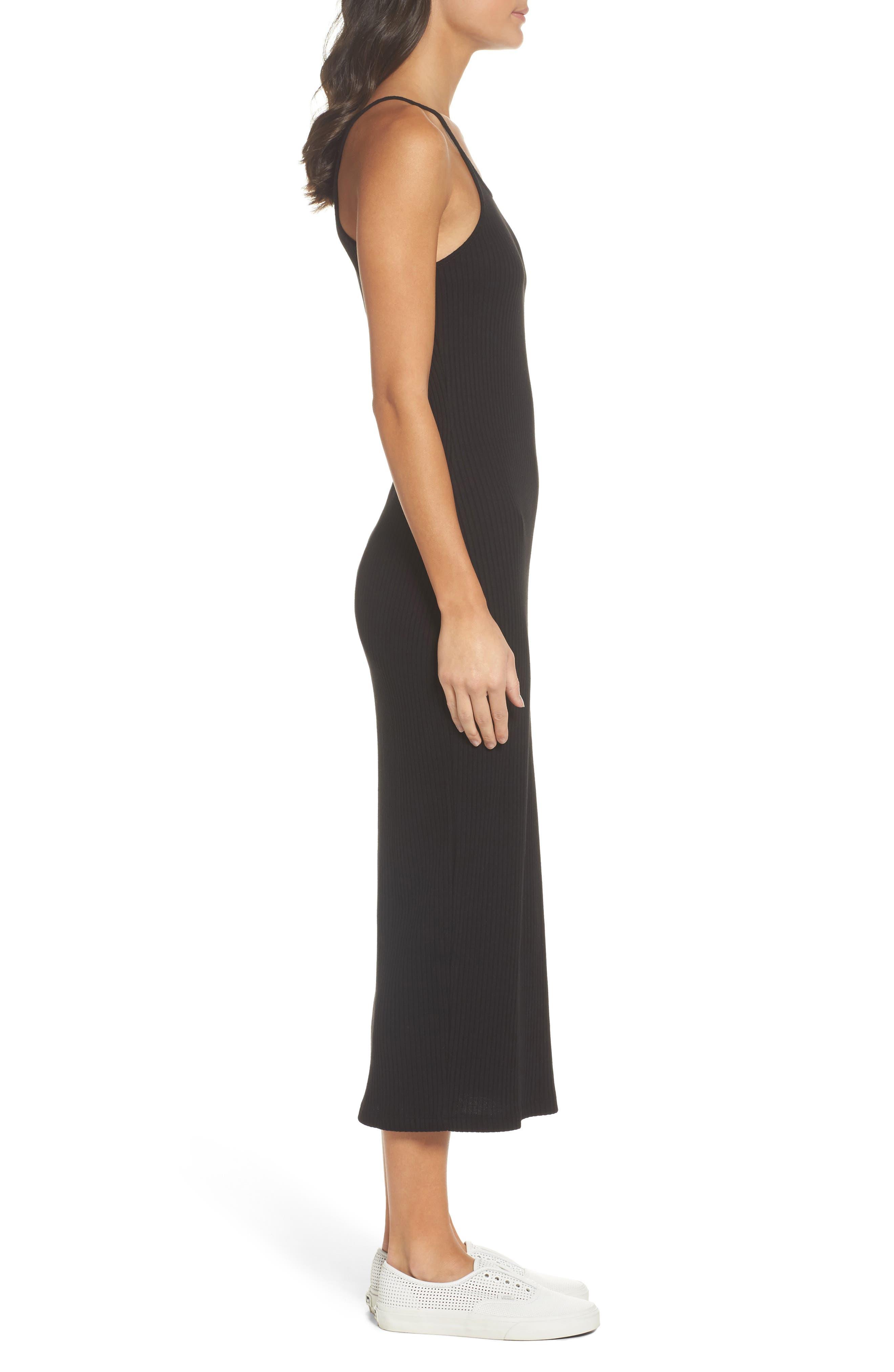 Tommy Body-Con Midi Dress,                             Alternate thumbnail 3, color,                             Black