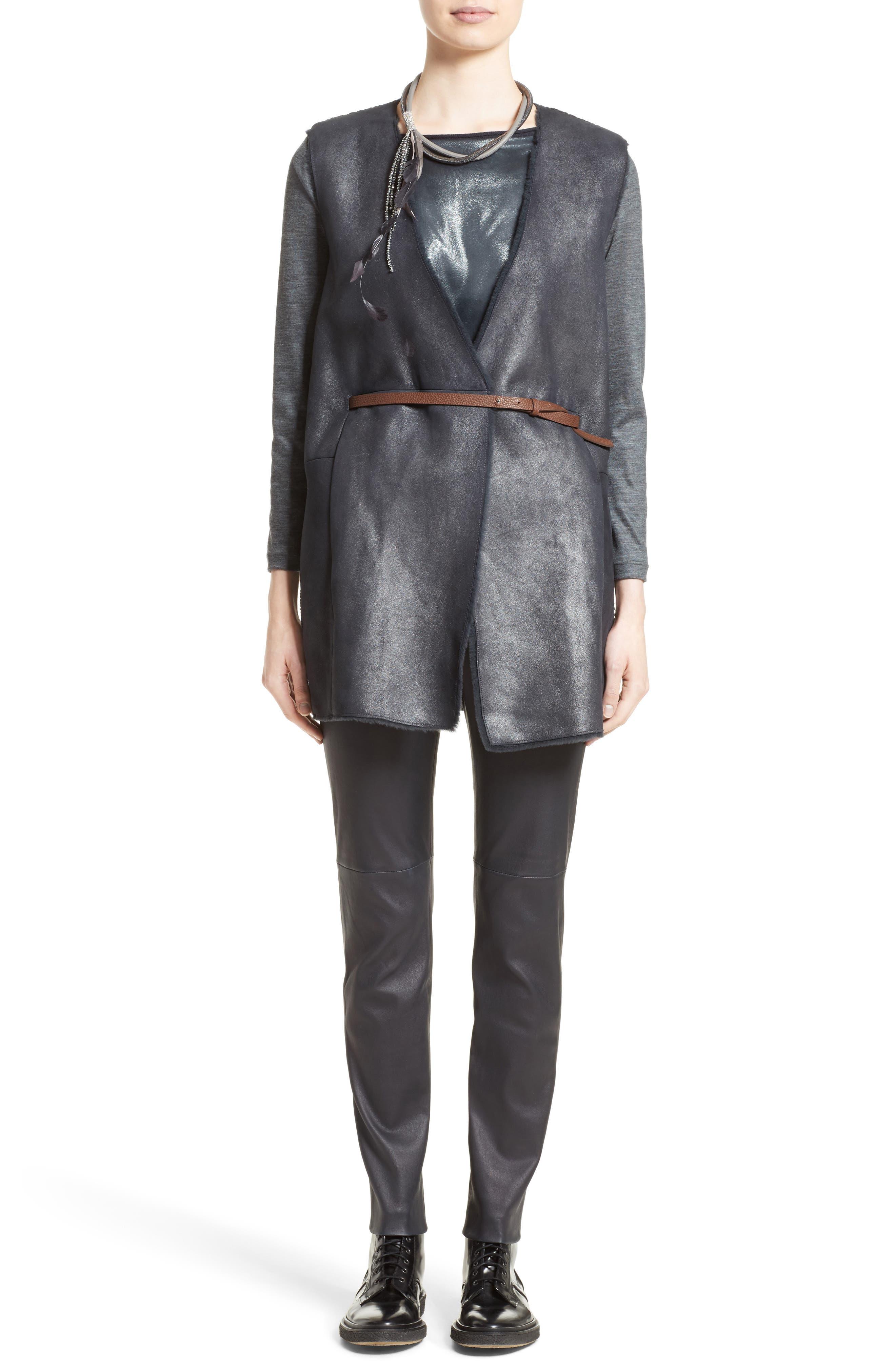 Alternate Image 7  - Fabiana Filippi Genuine Shearling Front Knit Vest
