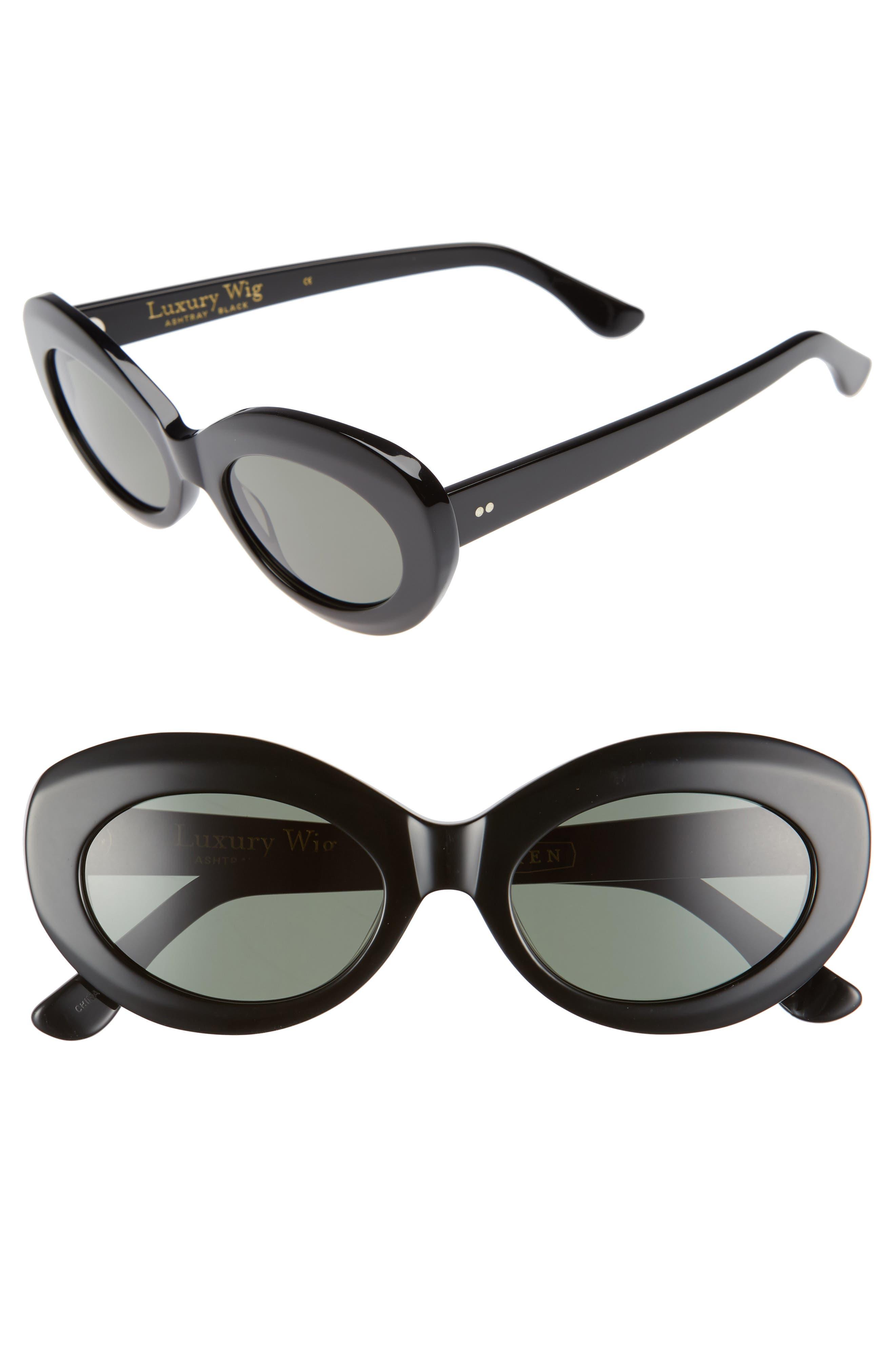 x Alex Knost Luxury Wig Ashtray 53mm Sunglasses,                         Main,                         color, Black/ Black
