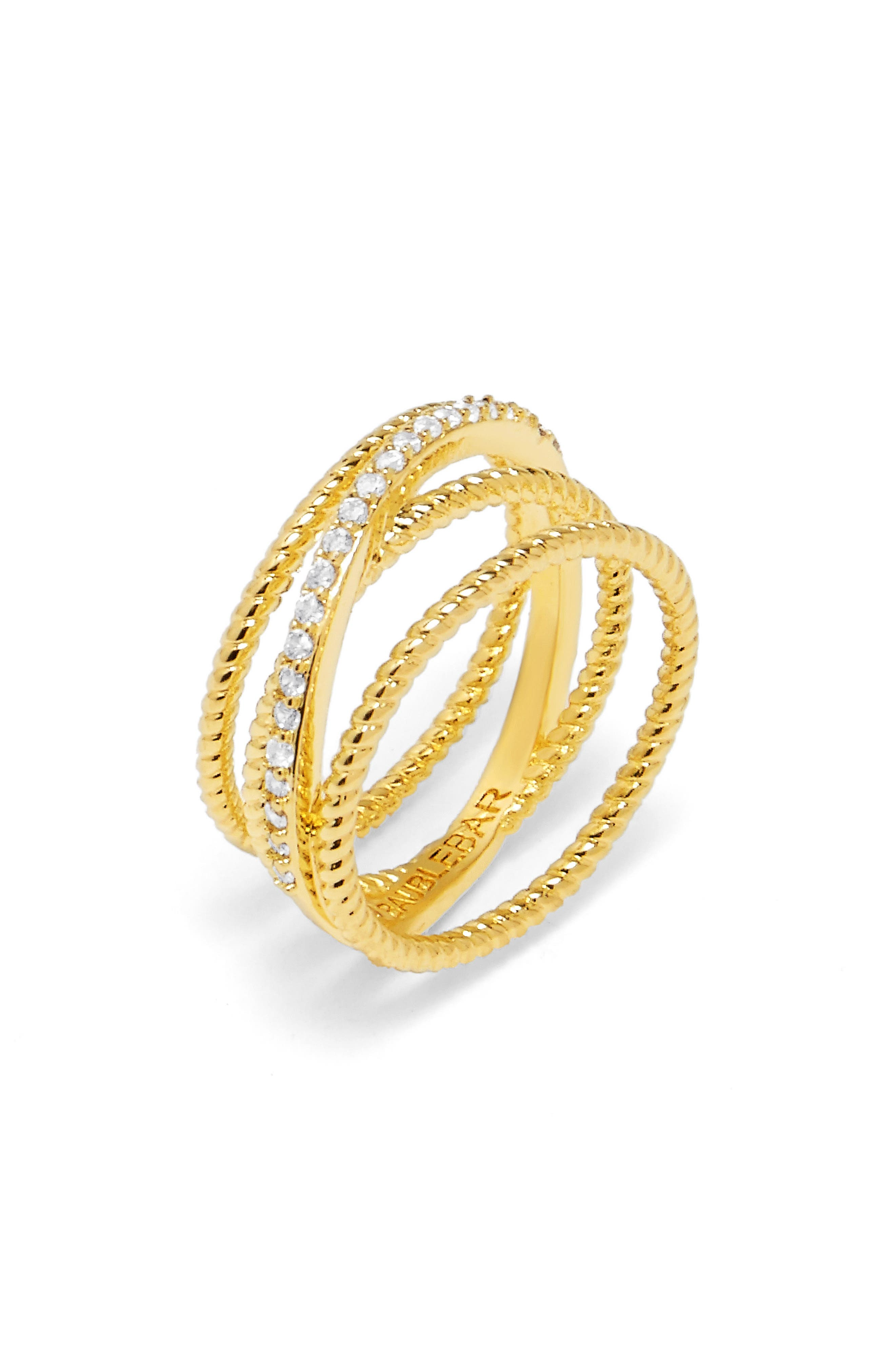 BaubleBar Carly Crystal Crossover Ring