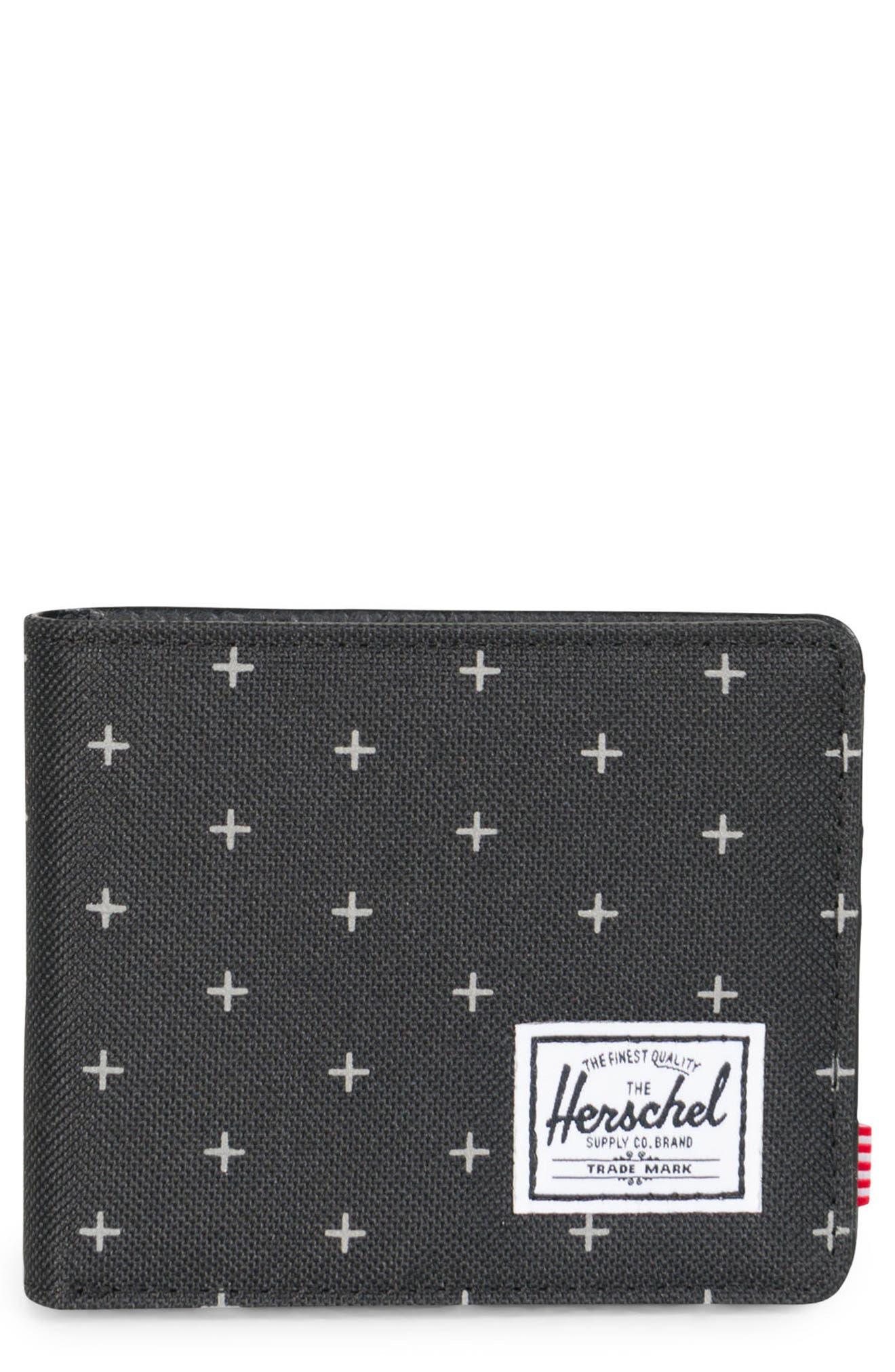 Hank RFID Wallet,                             Main thumbnail 1, color,                             Black Gridlock/ Black Leather