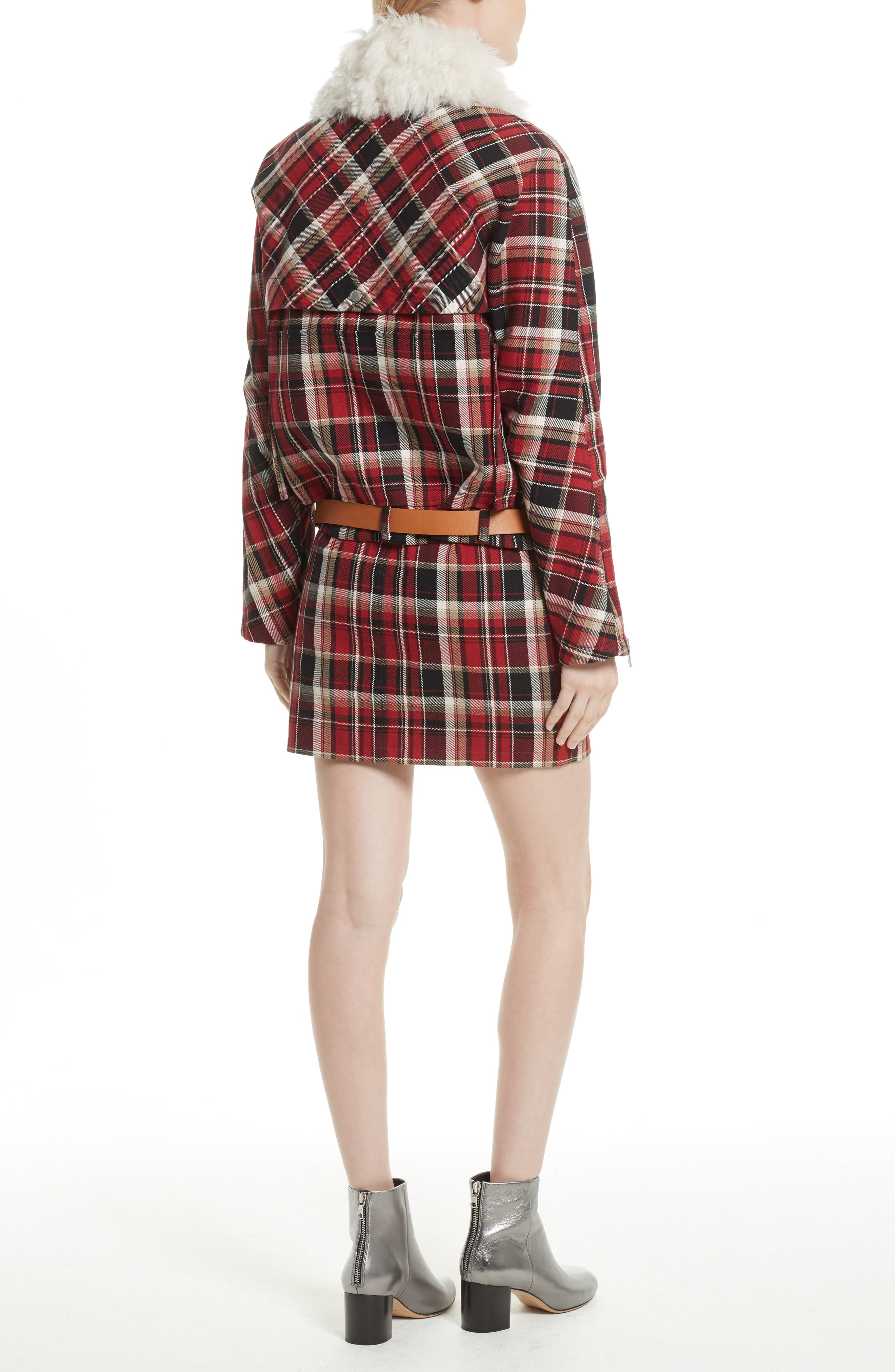Alternate Image 2  - rag & bone Etiene Plaid Jacket with Genuine Lamb Fur Collar