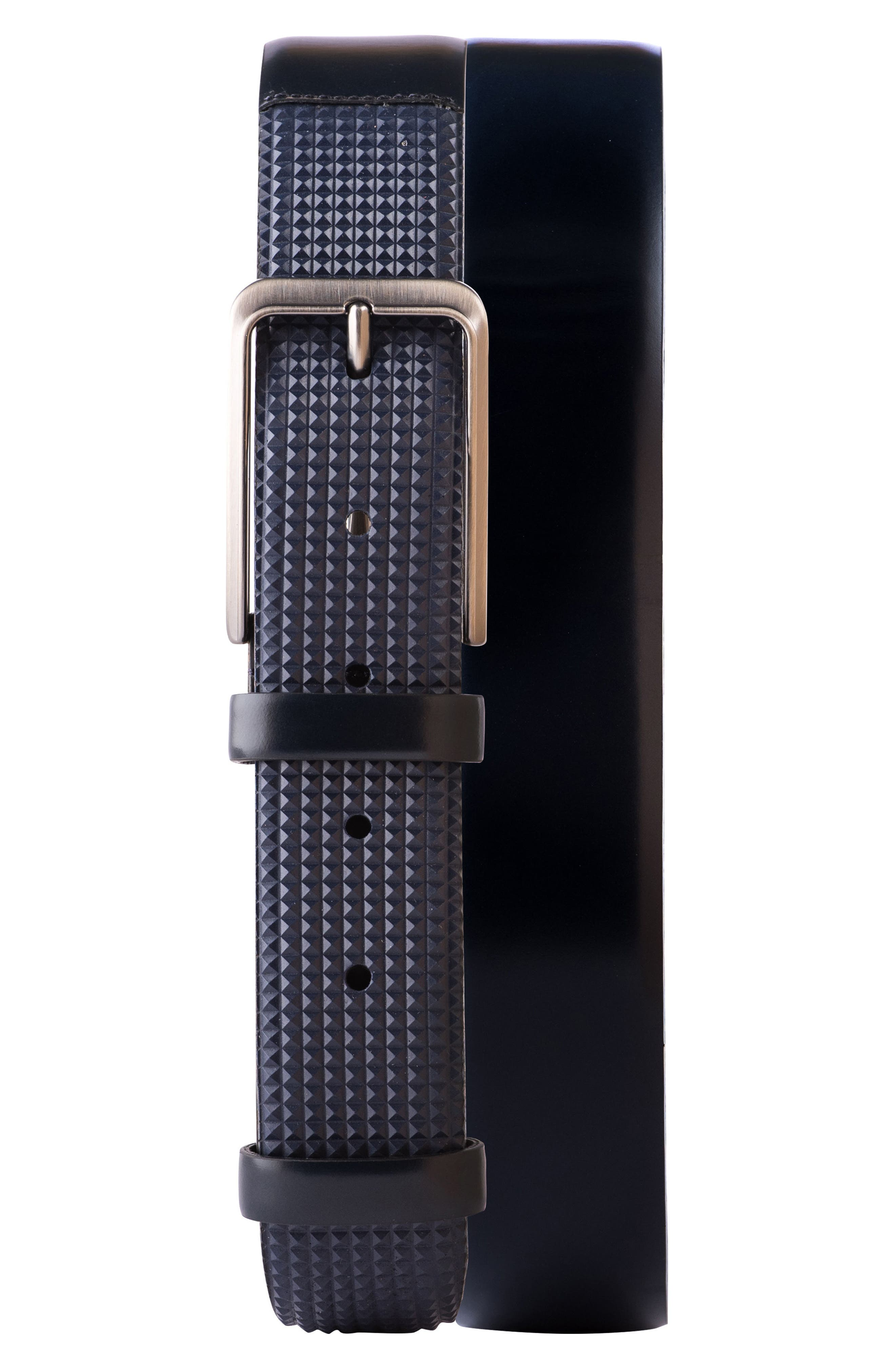 Micro Stud Leather Belt,                             Main thumbnail 1, color,                             Navy