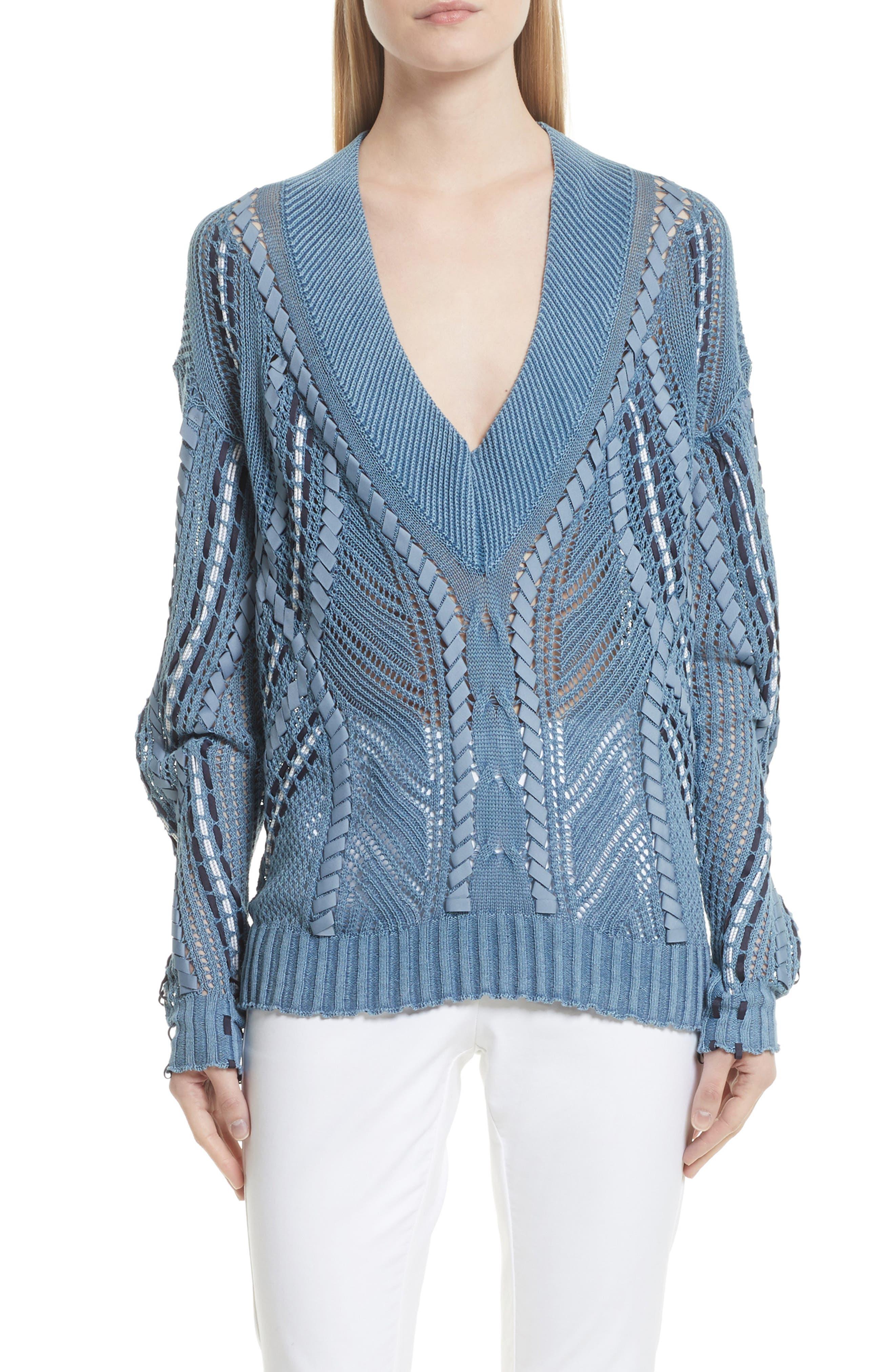 Lucie Pointelle Knit Cotton Blend Sweater,                             Main thumbnail 1, color,                             Indigo