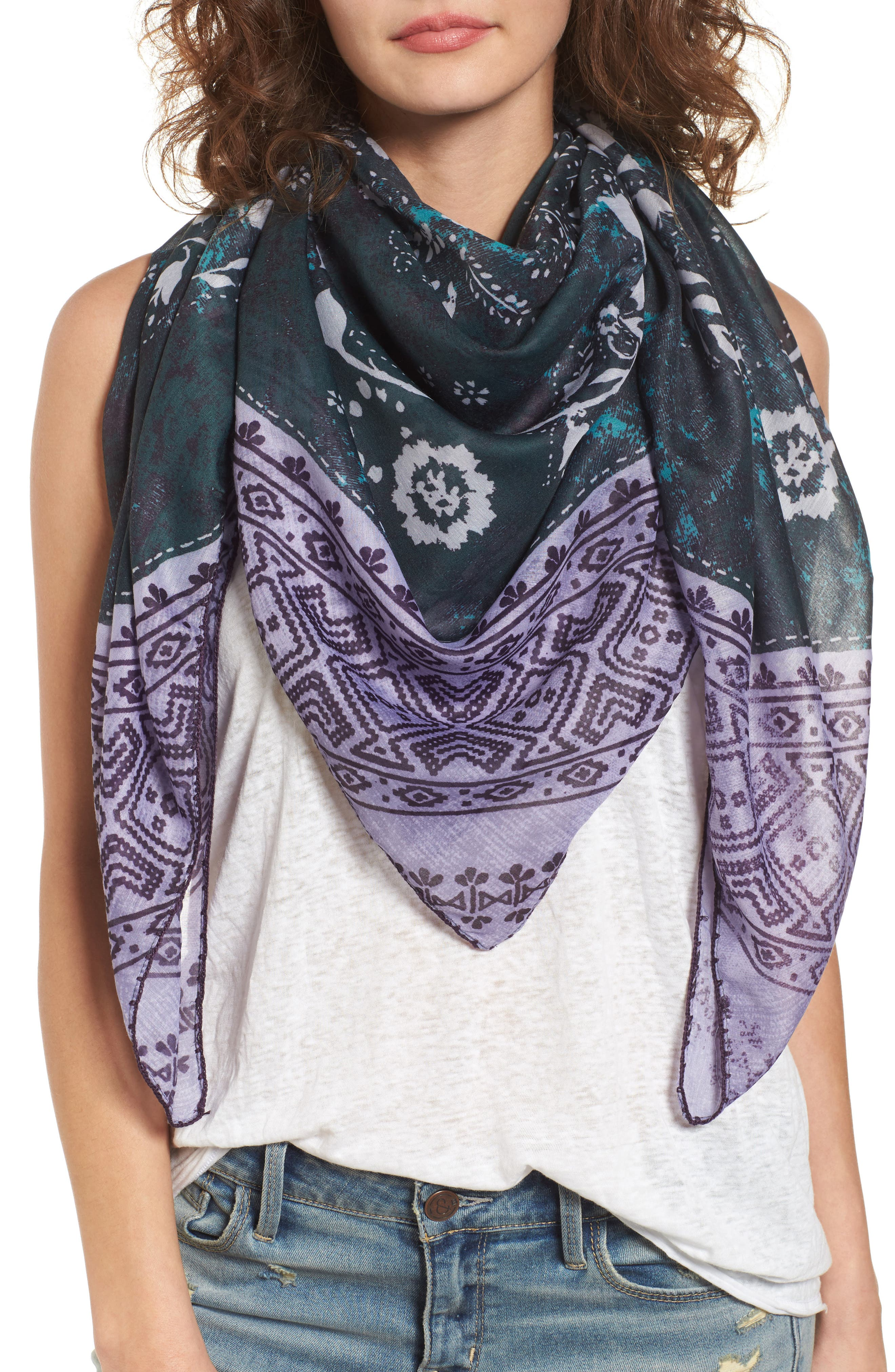 Paisley Blocks Square Scarf,                         Main,                         color, Teal Combo