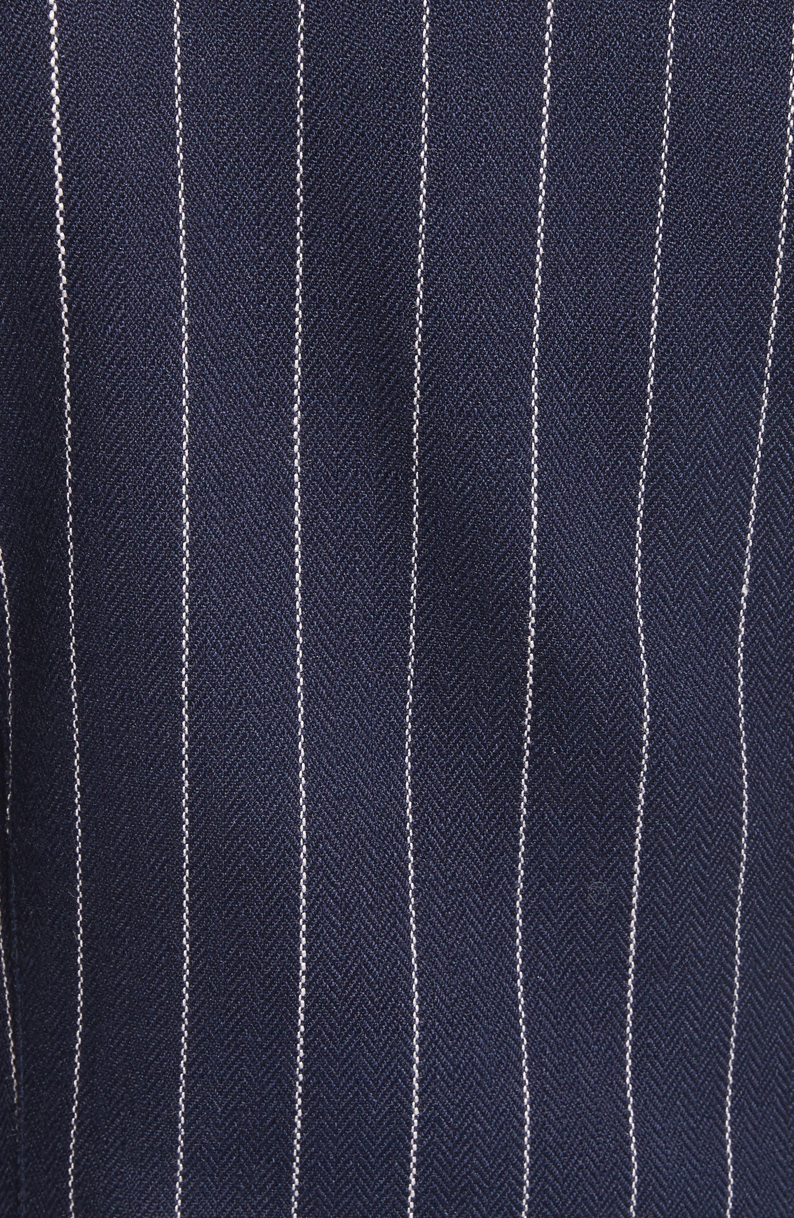 Stripe Puff Sleeve Blazer,                             Alternate thumbnail 5, color,                             Navy Pinstripe