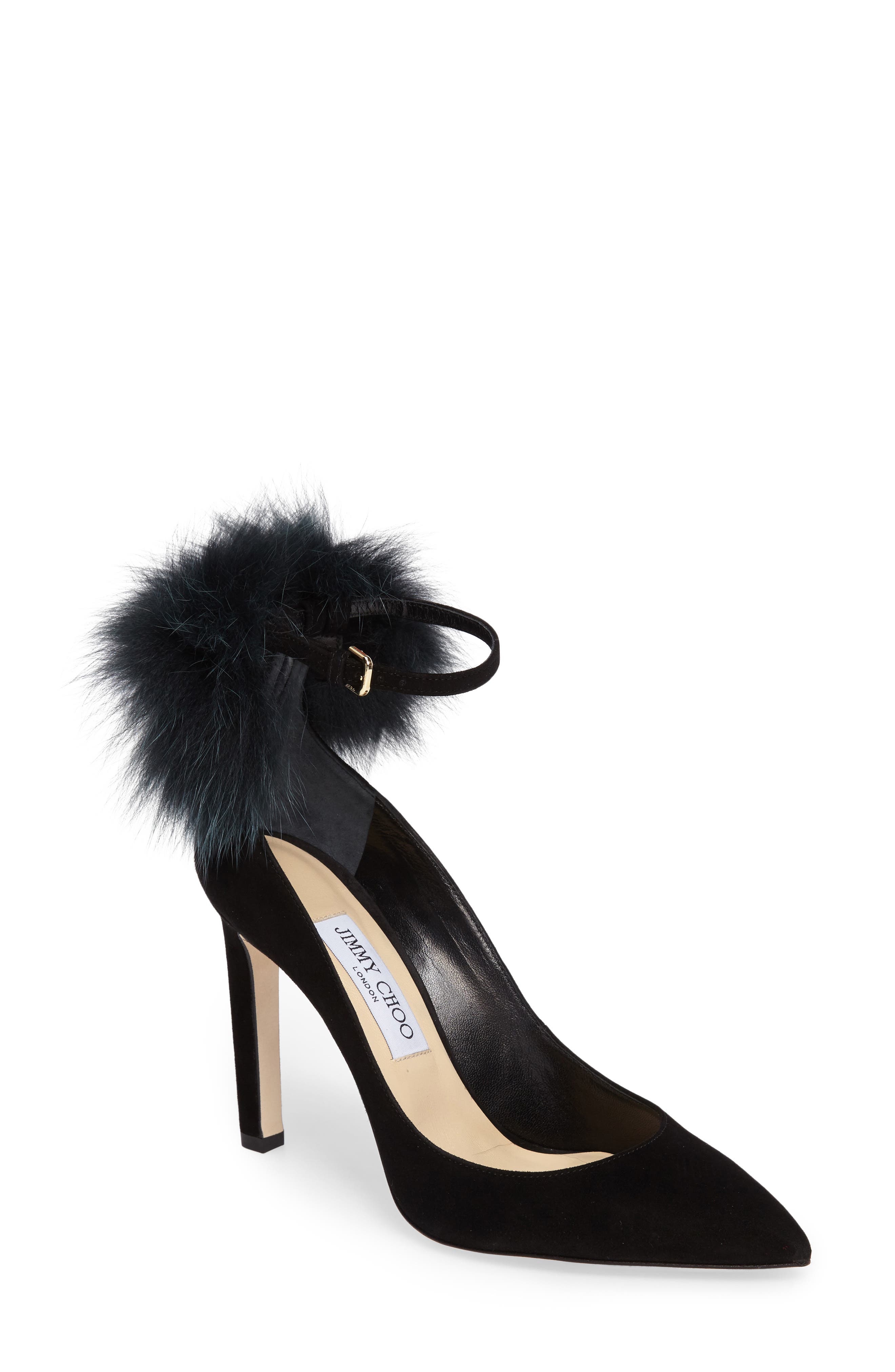 Jimmy Choo South Genuine Fox Fur Pompom Pump (Women)