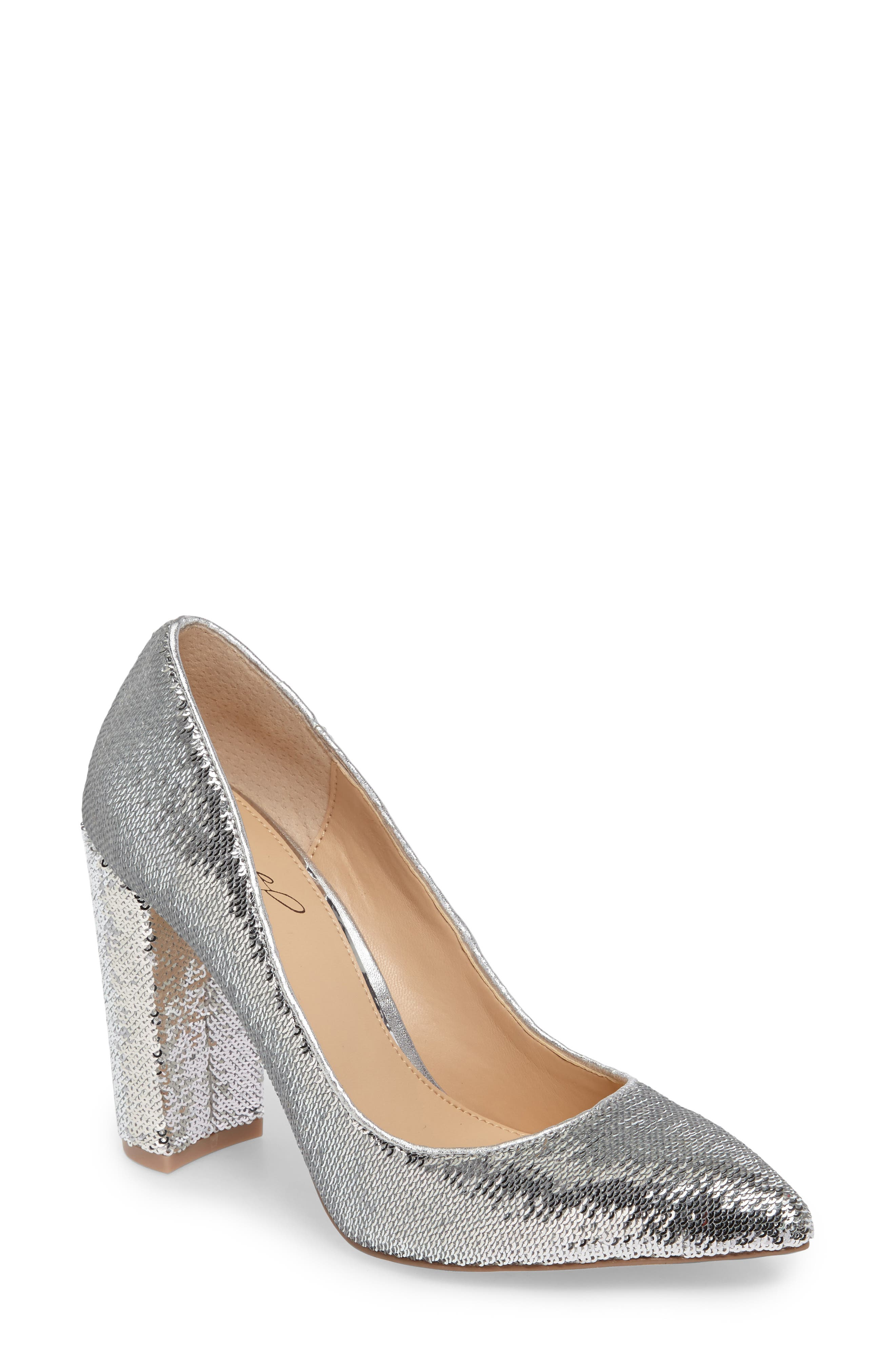 Luxury Pointy Toe Pump,                             Main thumbnail 1, color,                             Silver Leather