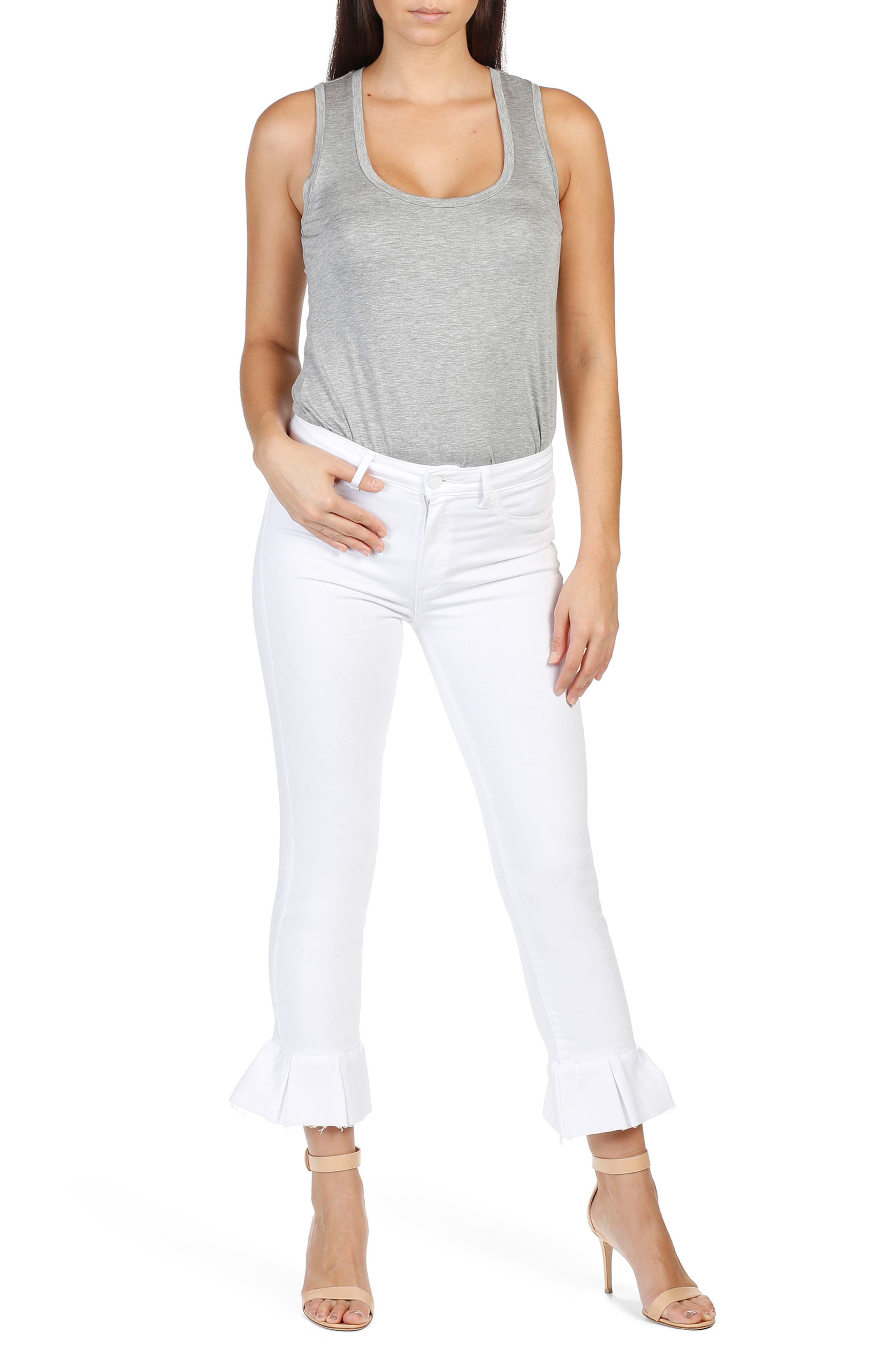 Alternate Image 2  - PAIGE Rafaela High Waist Raw Hem Ankle Ultra Skinny Jeans (Optic White)