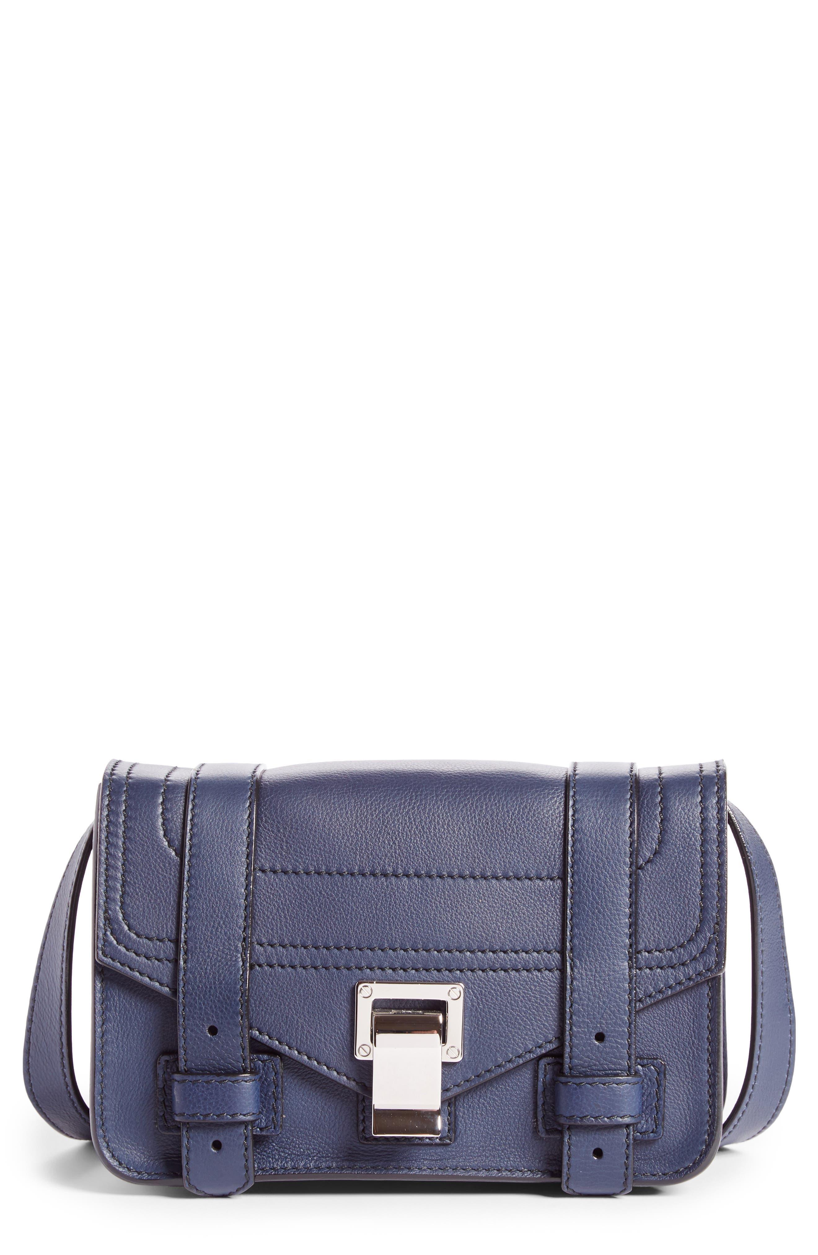 Mini PS1 Leather Crossbody Bag,                         Main,                         color, Indigo