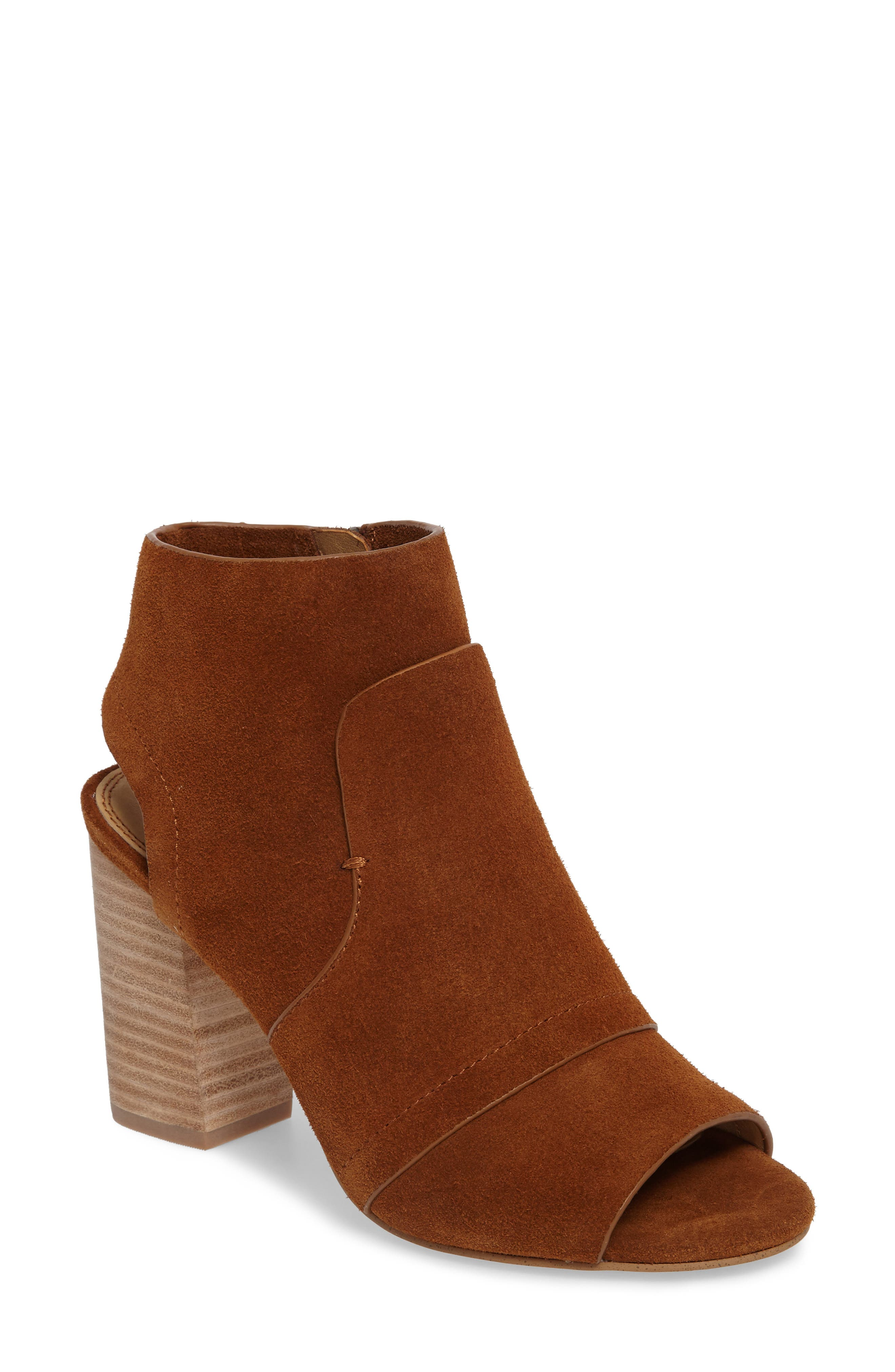 Darelene II Peep Toe Bootie,                         Main,                         color, Whiskey Suede
