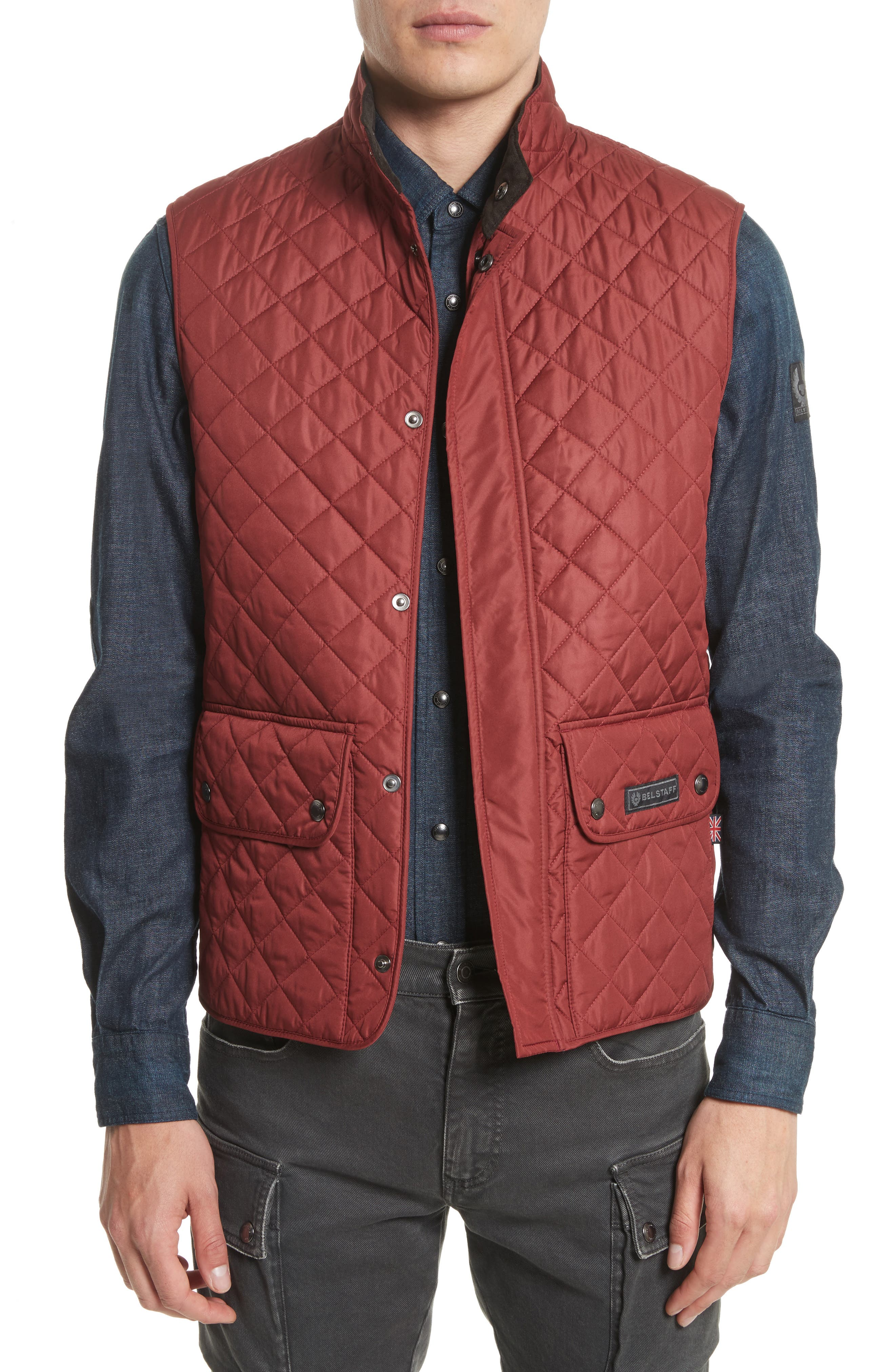 Waistcoat Tech Quilted Vest,                         Main,                         color, Cardinal Red