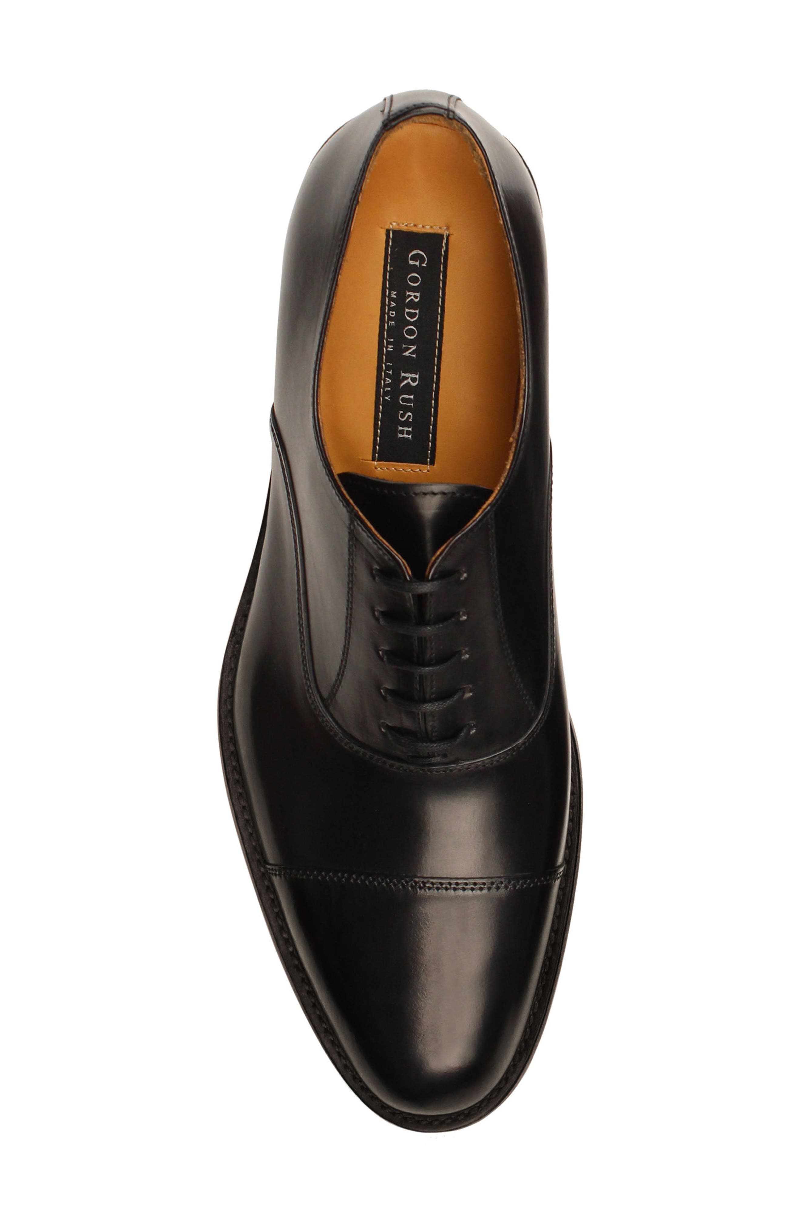 Nathan Cap Toe Oxford,                             Alternate thumbnail 4, color,                             Black Leather