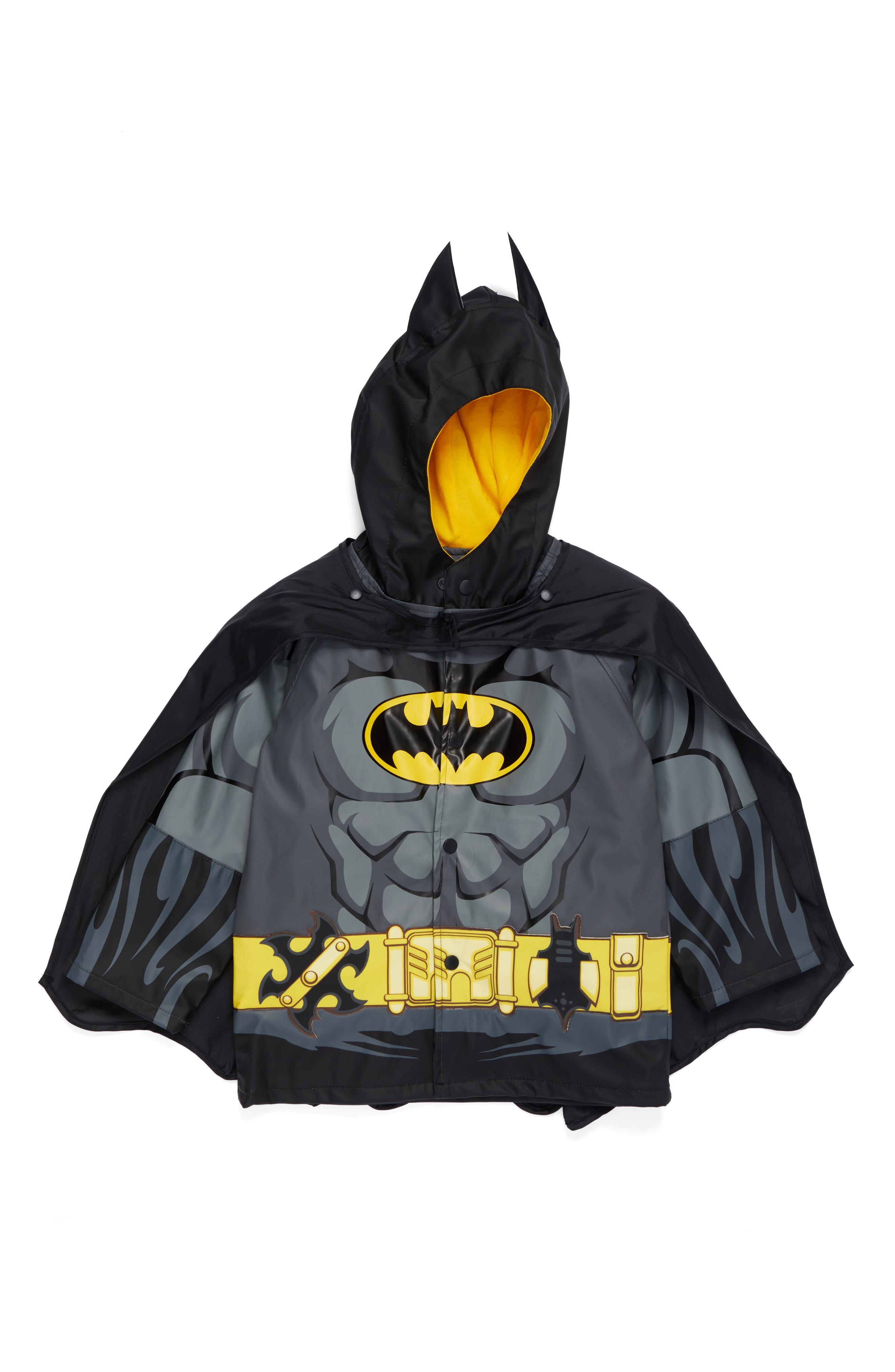 Batman Everlasting Hooded Raincoat,                         Main,                         color, Black