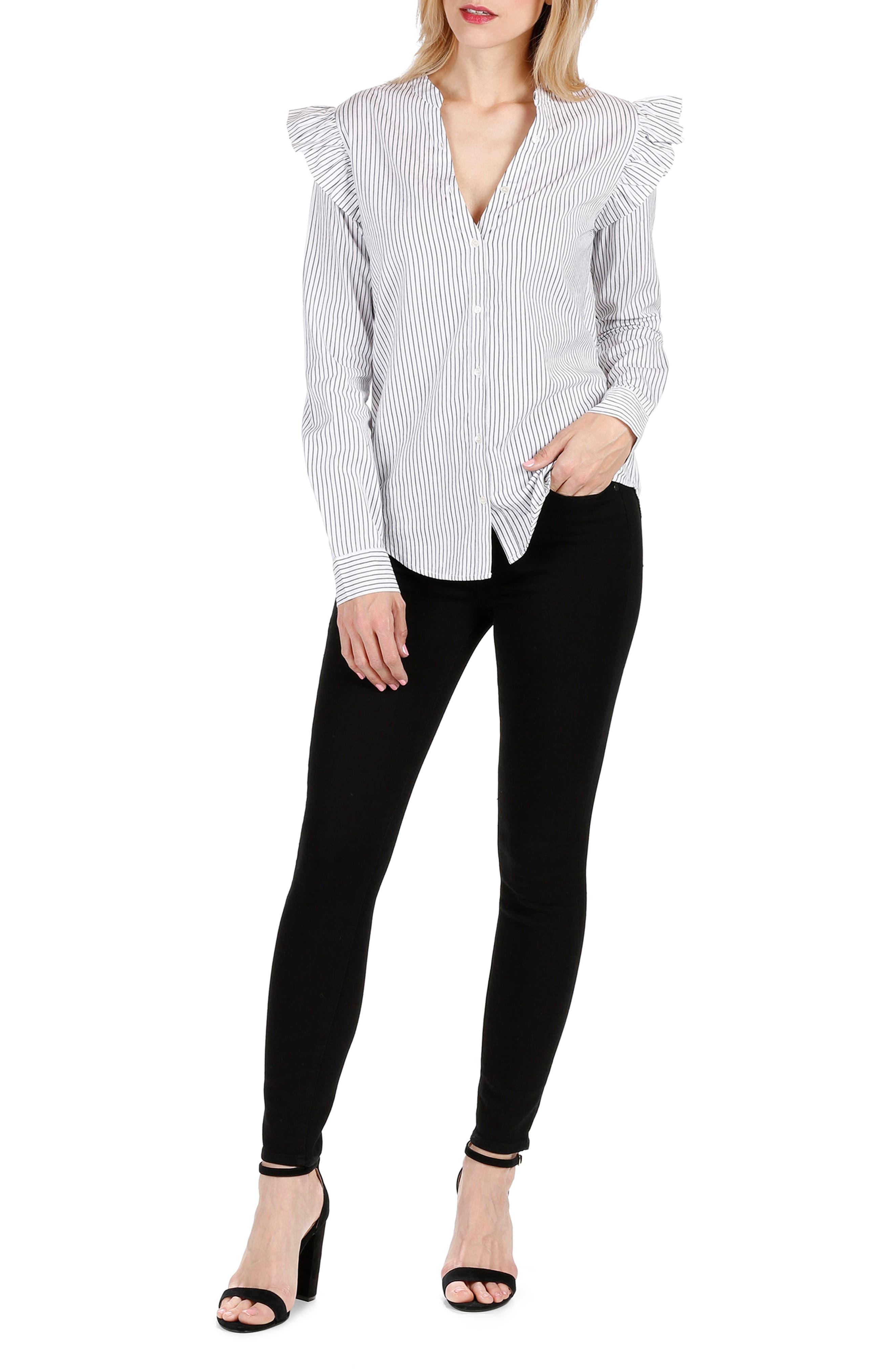Jenelle Ruffle Dress Shirt,                             Alternate thumbnail 2, color,                             Black/ White Stripe