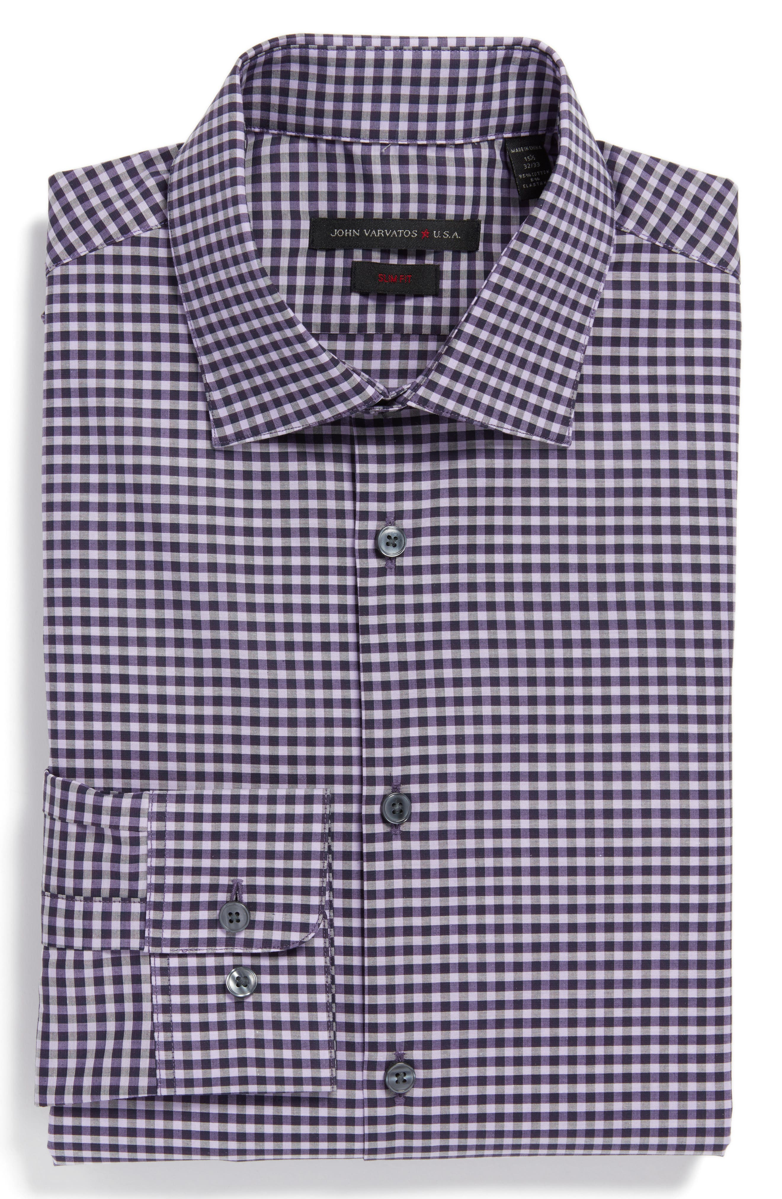 John Varvatos Star USA Slim Fit Check Stretch Dress Shirt