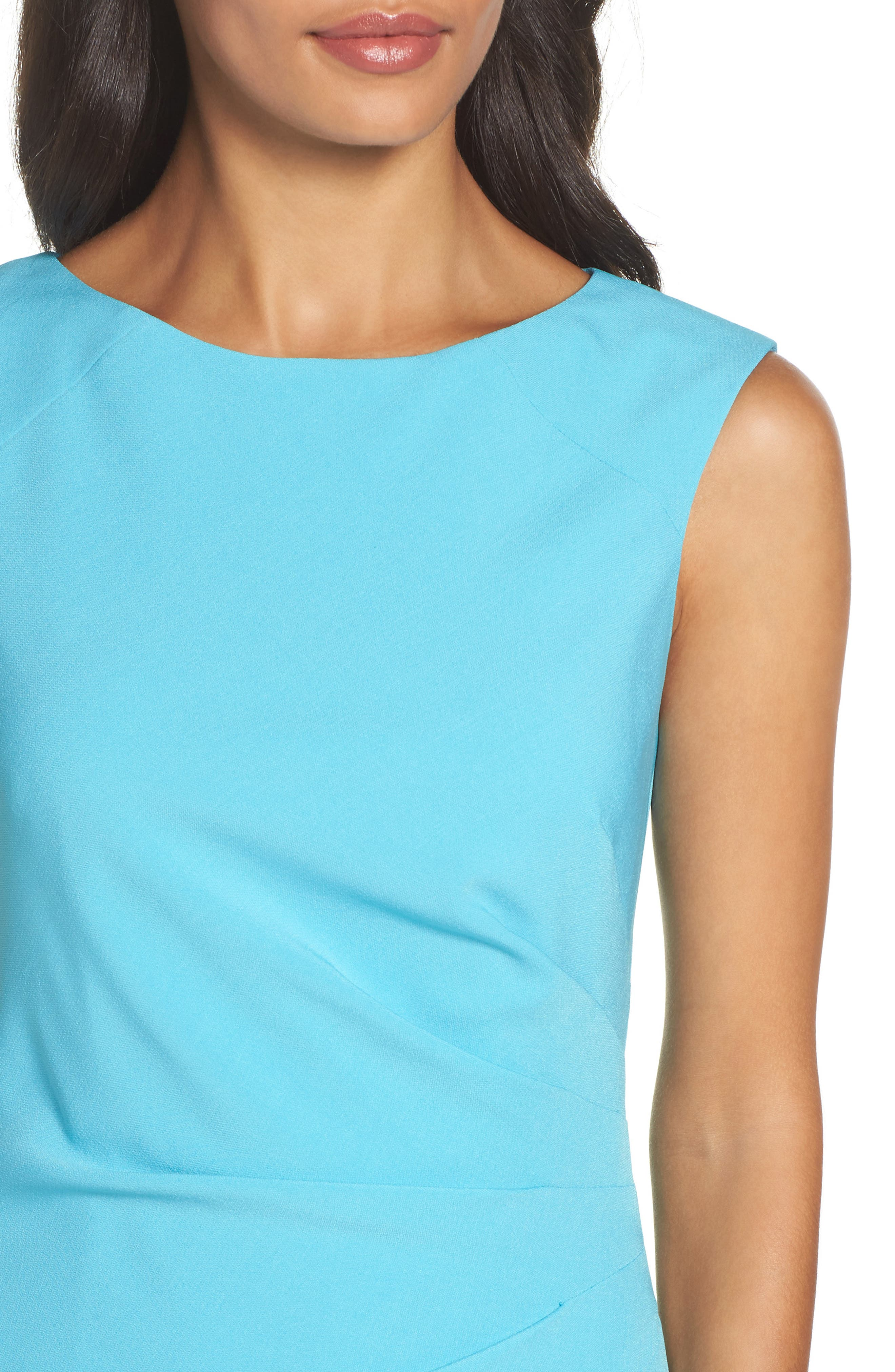Stretch Sheath Dress,                             Alternate thumbnail 4, color,                             Pacific Blue