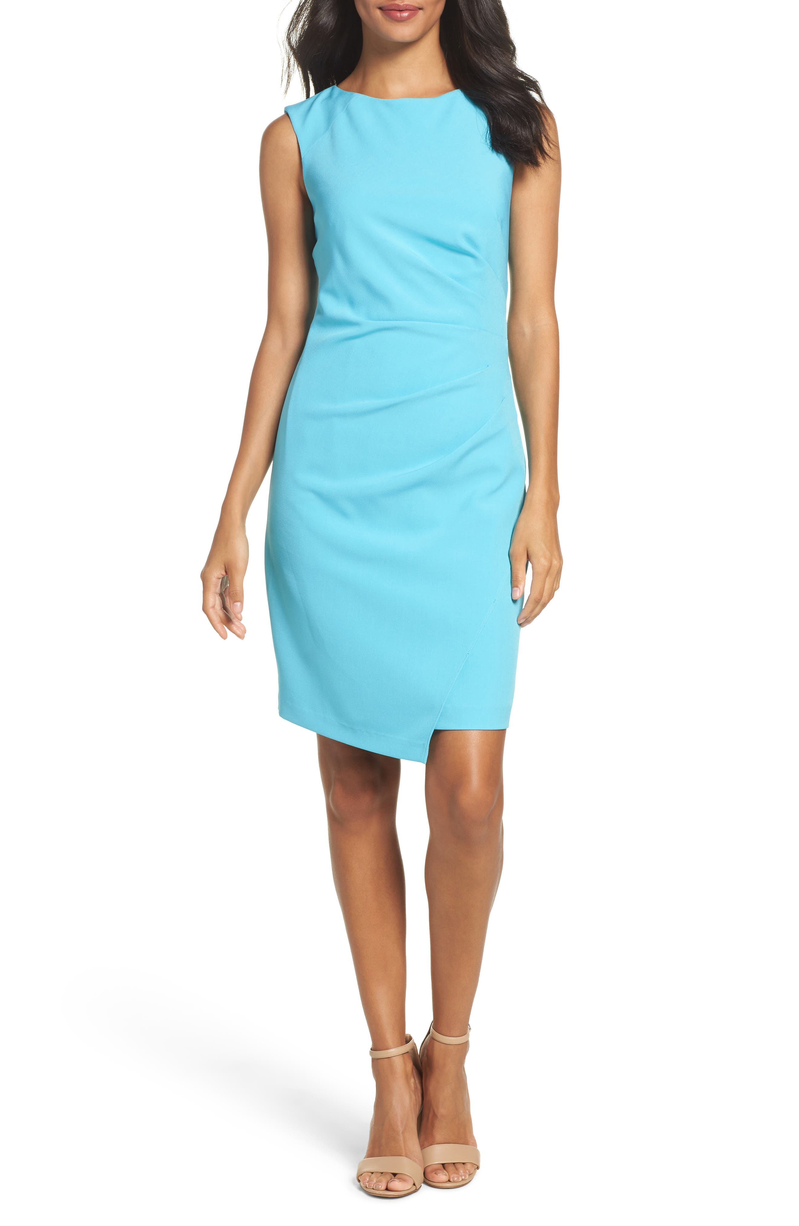 Stretch Sheath Dress,                         Main,                         color, Pacific Blue