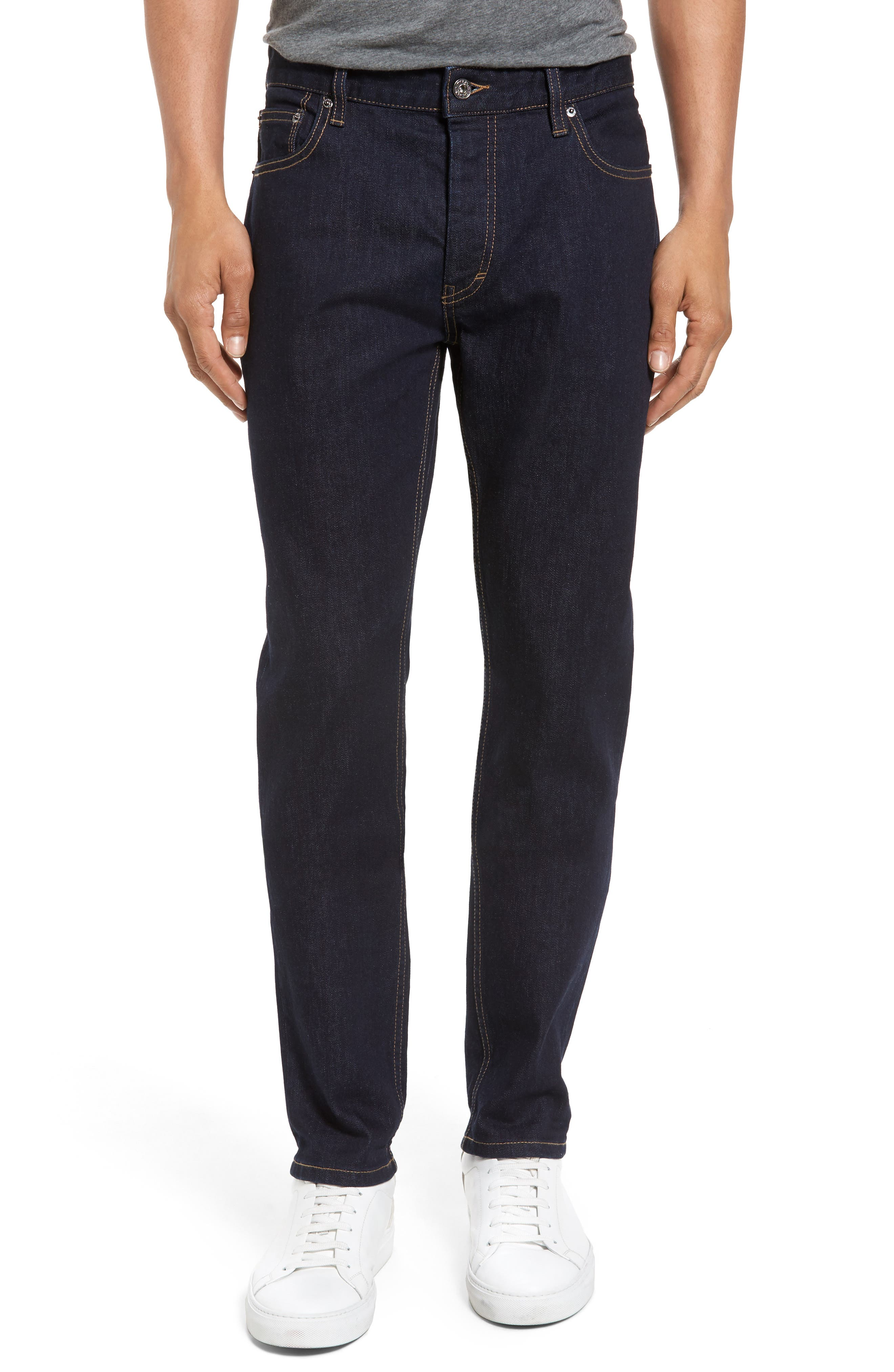 Stretch Slim Fit Raw Denim Jeans,                         Main,                         color, Blue