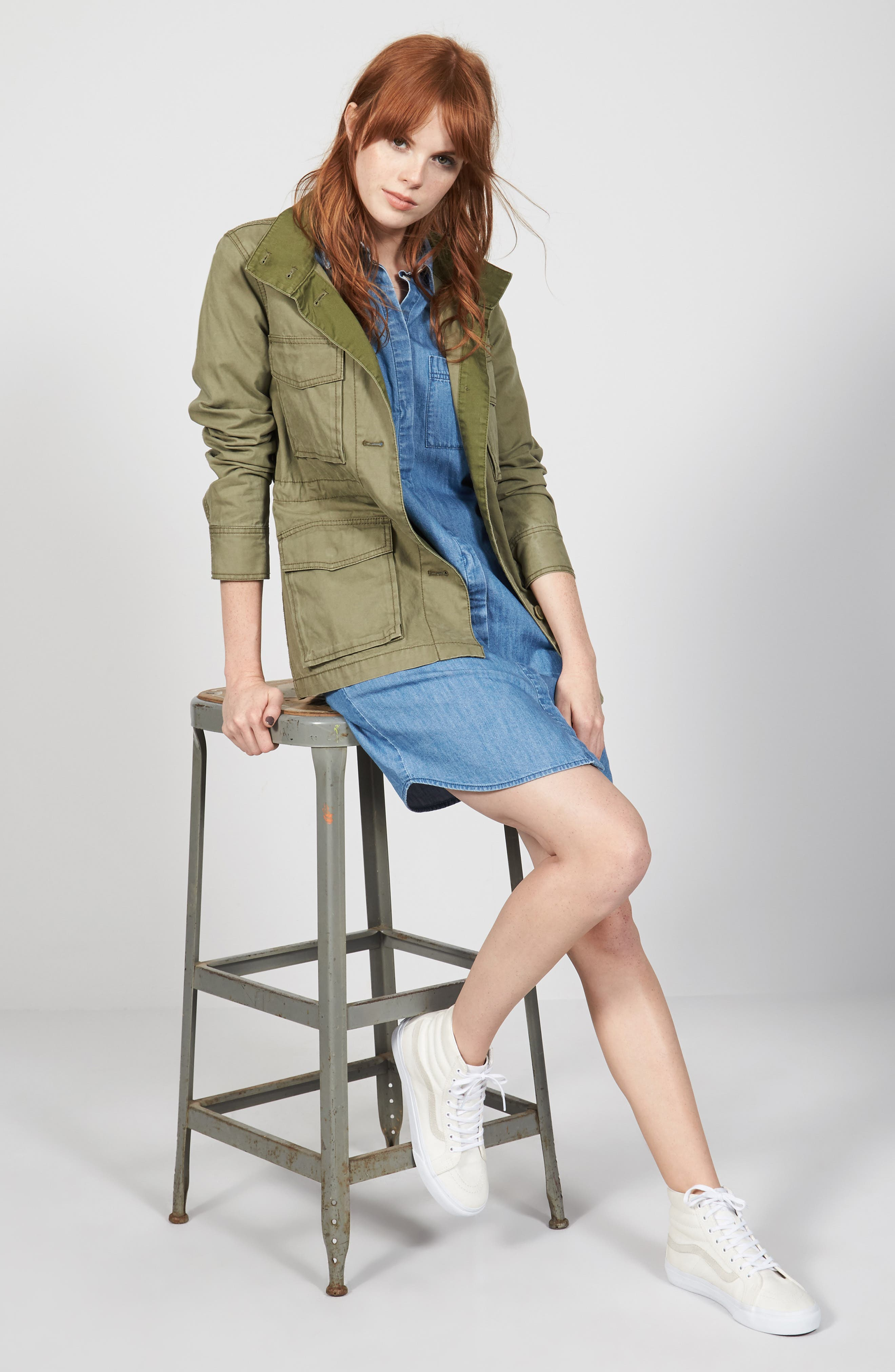 Madewell Jacket & Shirtdress Outfit with Accessories