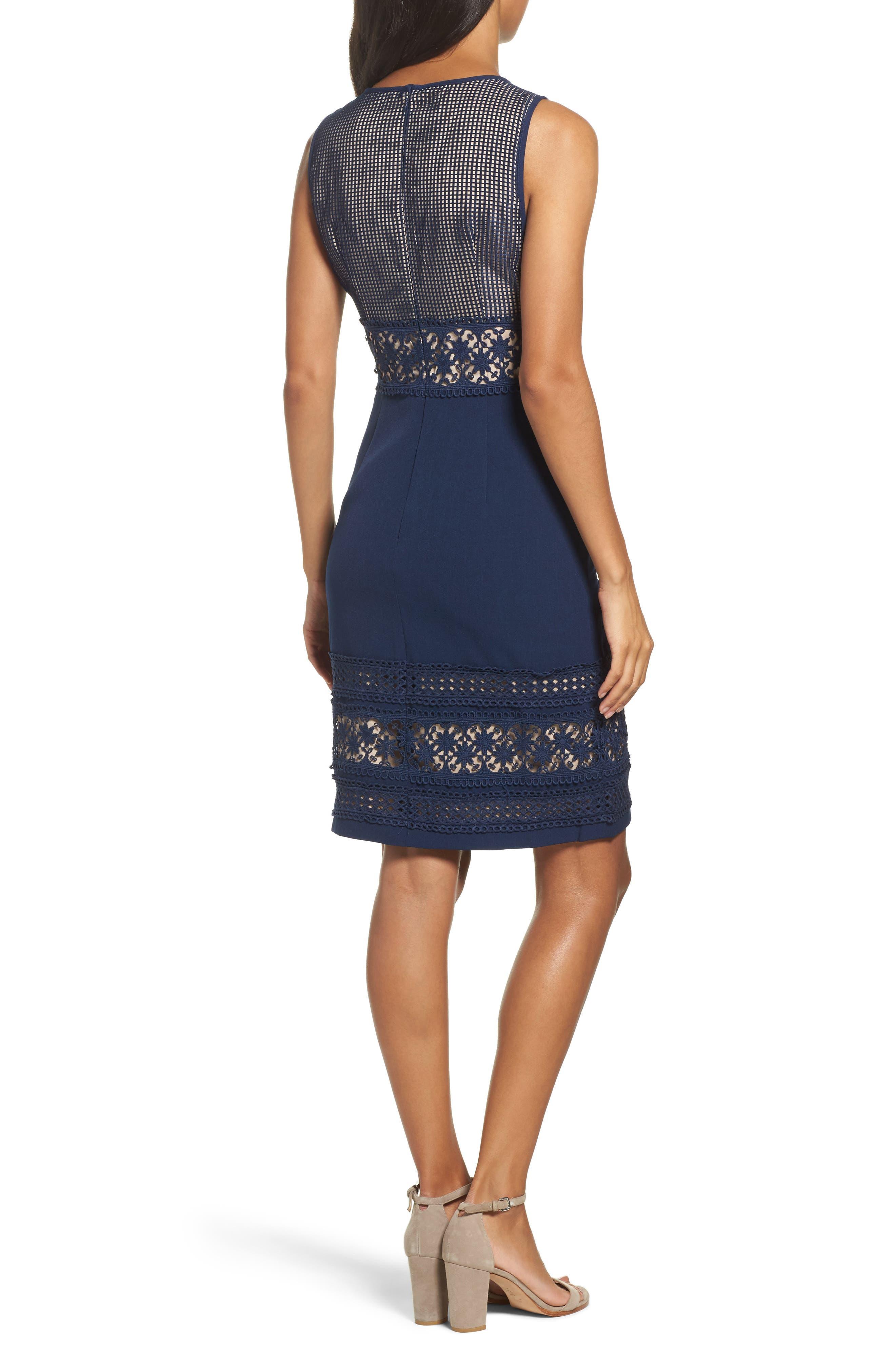 Lace & Crepe Sheath Dress,                             Alternate thumbnail 2, color,                             Dusk