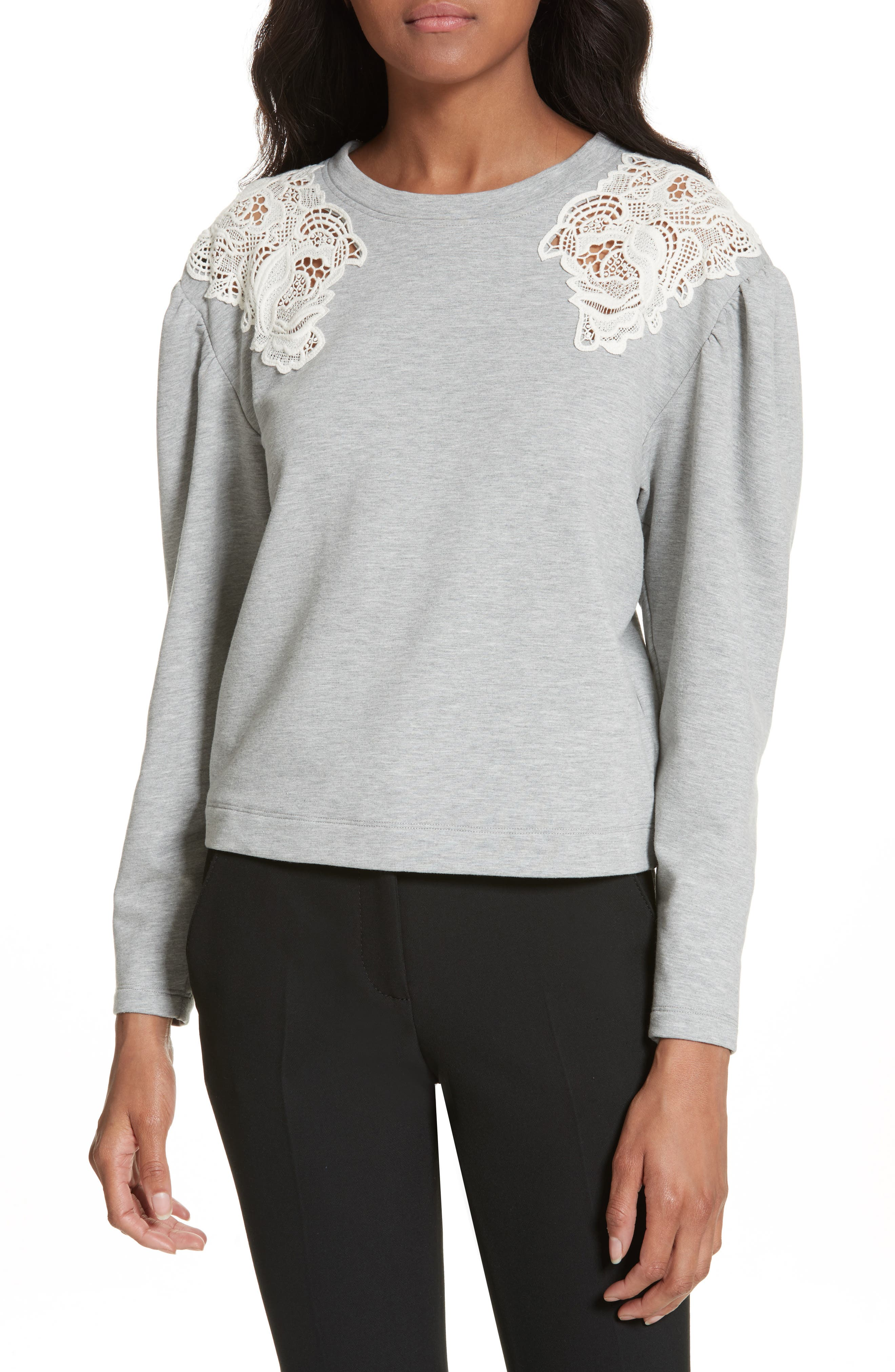Lace Inset Sweatshirt,                         Main,                         color, Grey/ Off White