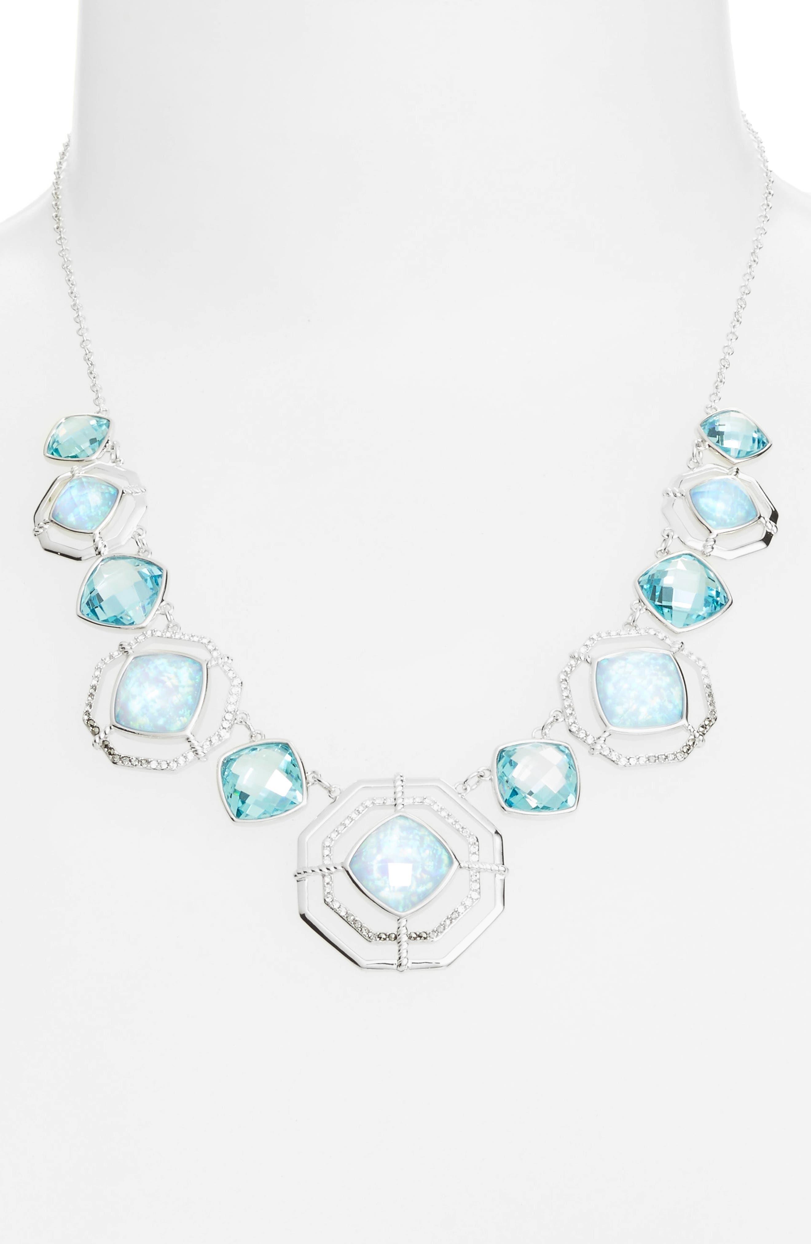 Paradise Frontal Necklace,                         Main,                         color, Opal/ Black Diamond/ Marcasite