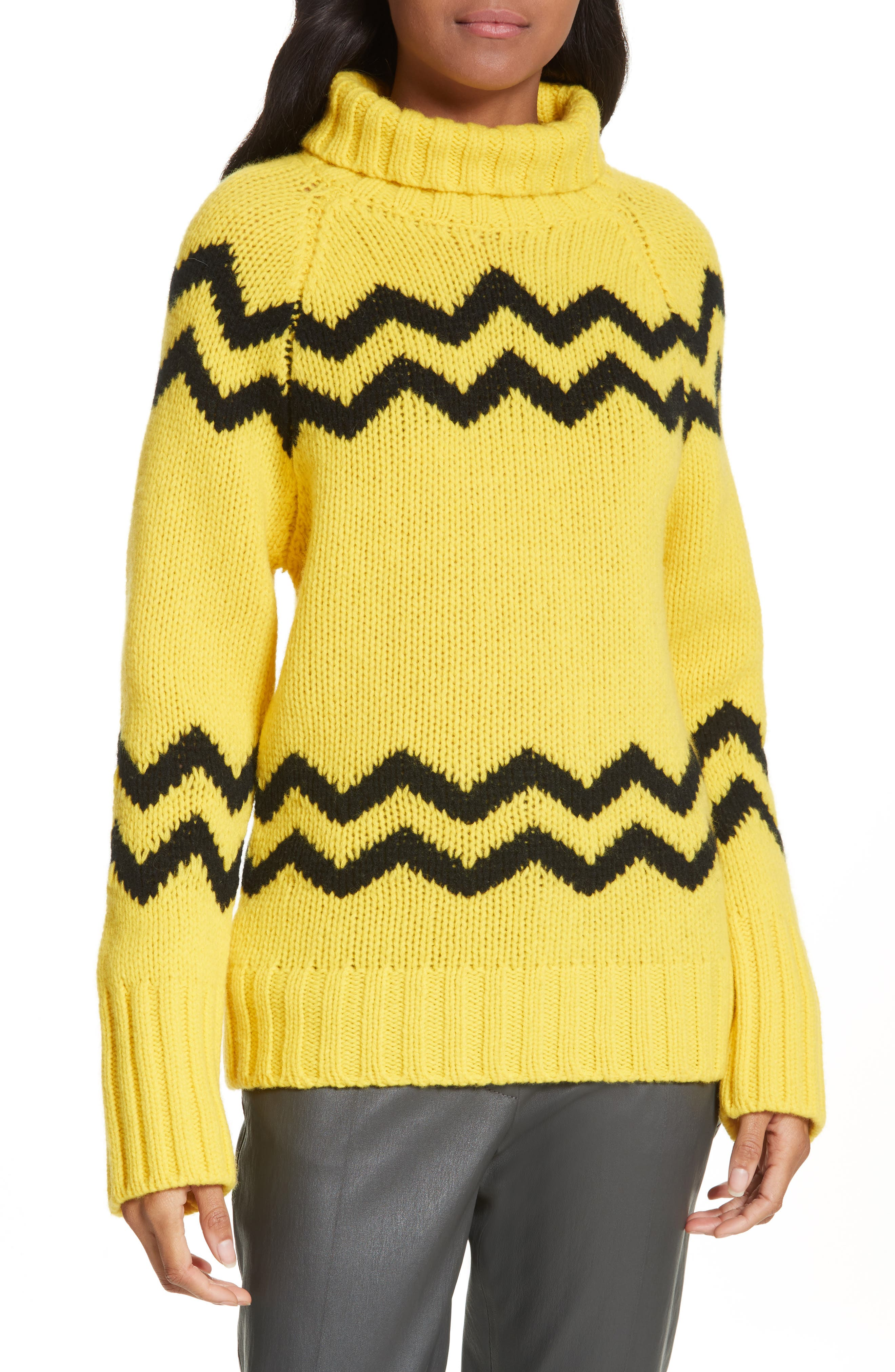 JOSEPH Chunky Intarsia Turtleneck Sweater