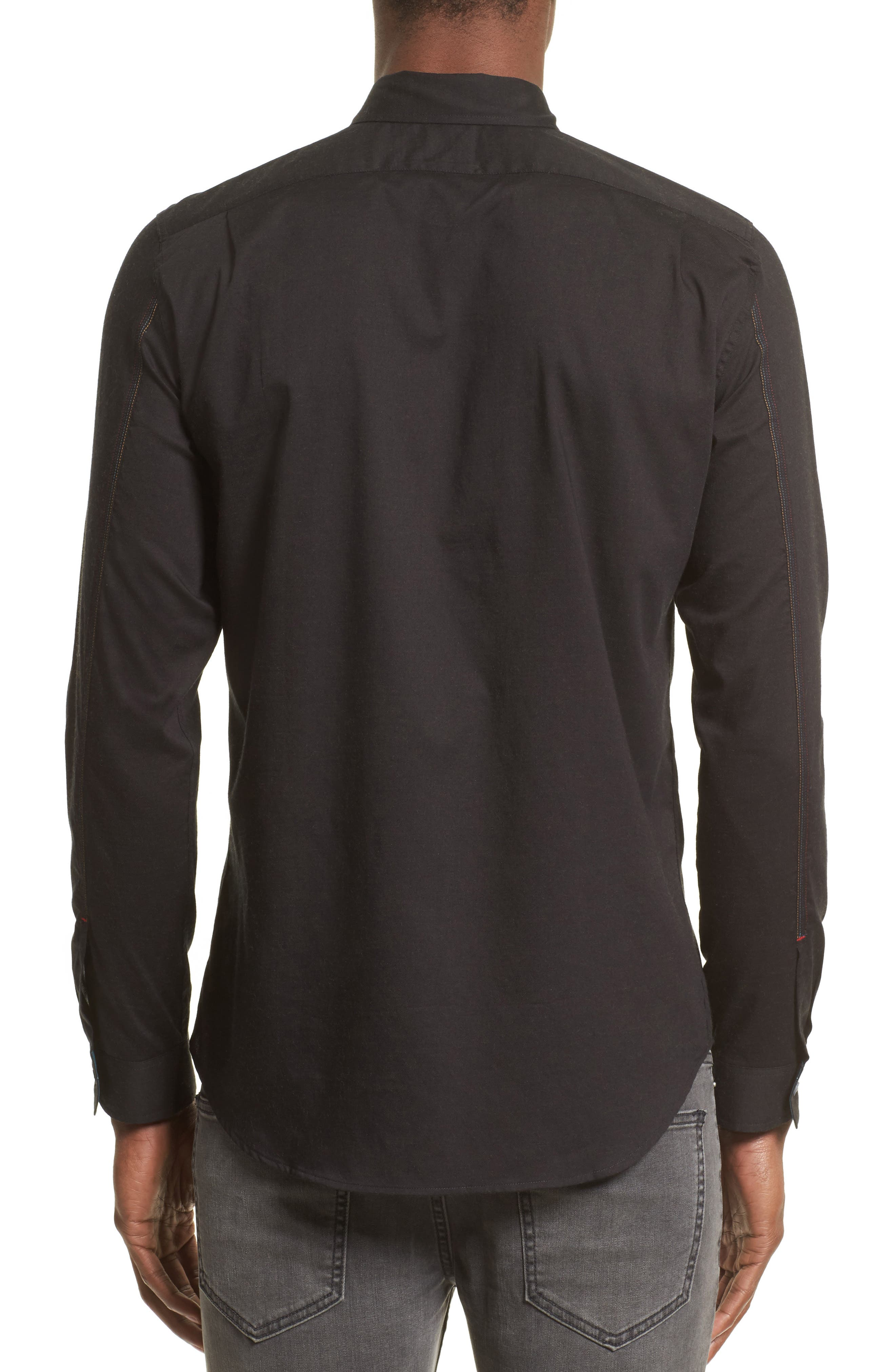 Embroidered Sport Shirt,                             Alternate thumbnail 2, color,                             Black
