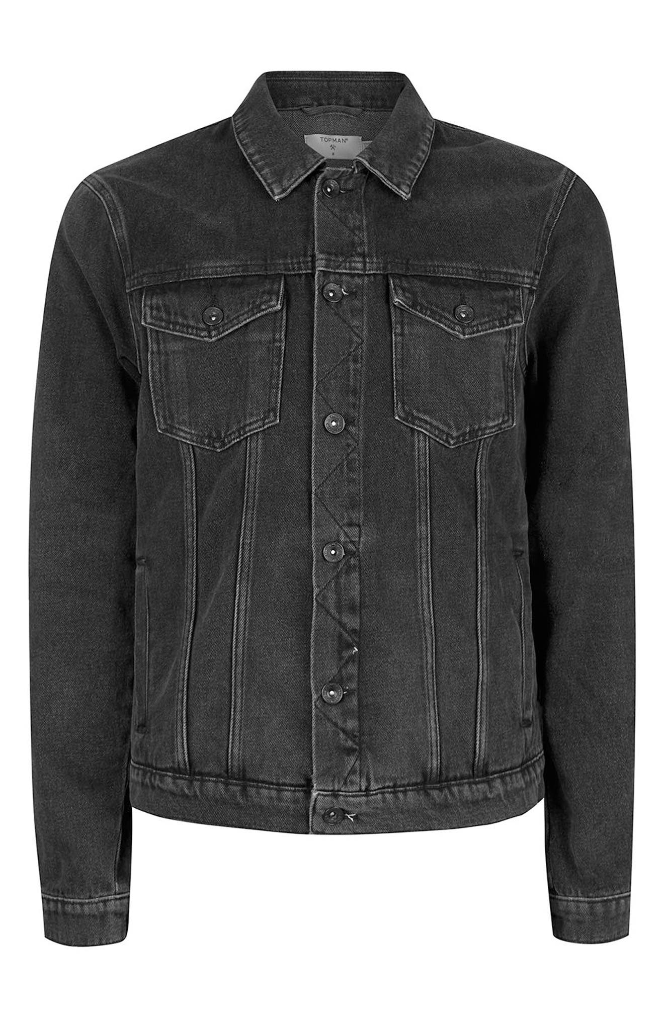 Western Denim Jacket,                             Alternate thumbnail 5, color,                             Black