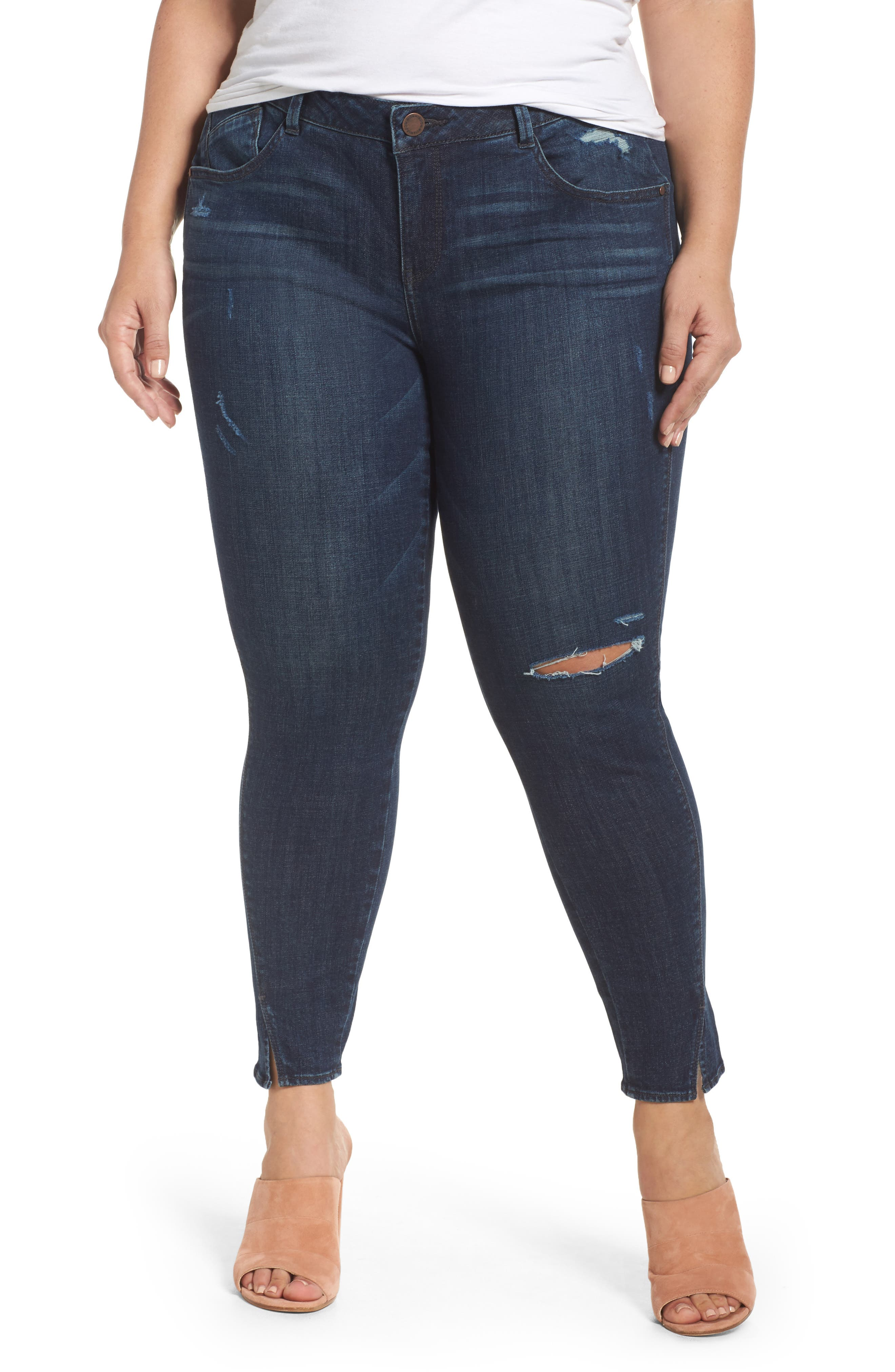 Twisted Seam Ankle Skimmer Jeans,                         Main,                         color, Indigo
