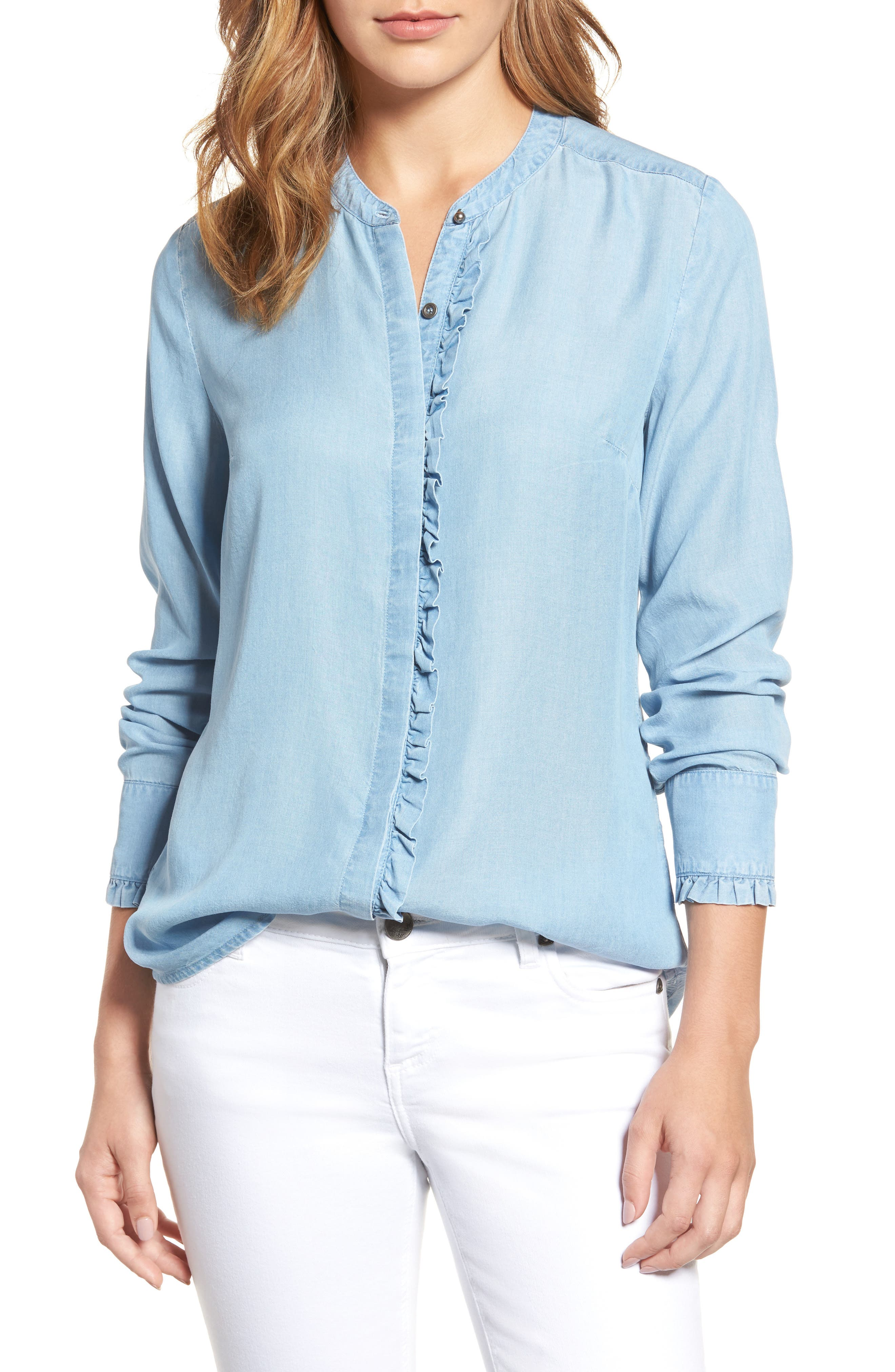 KUT from the Kloth Ruffle Trim Chambray Shirt