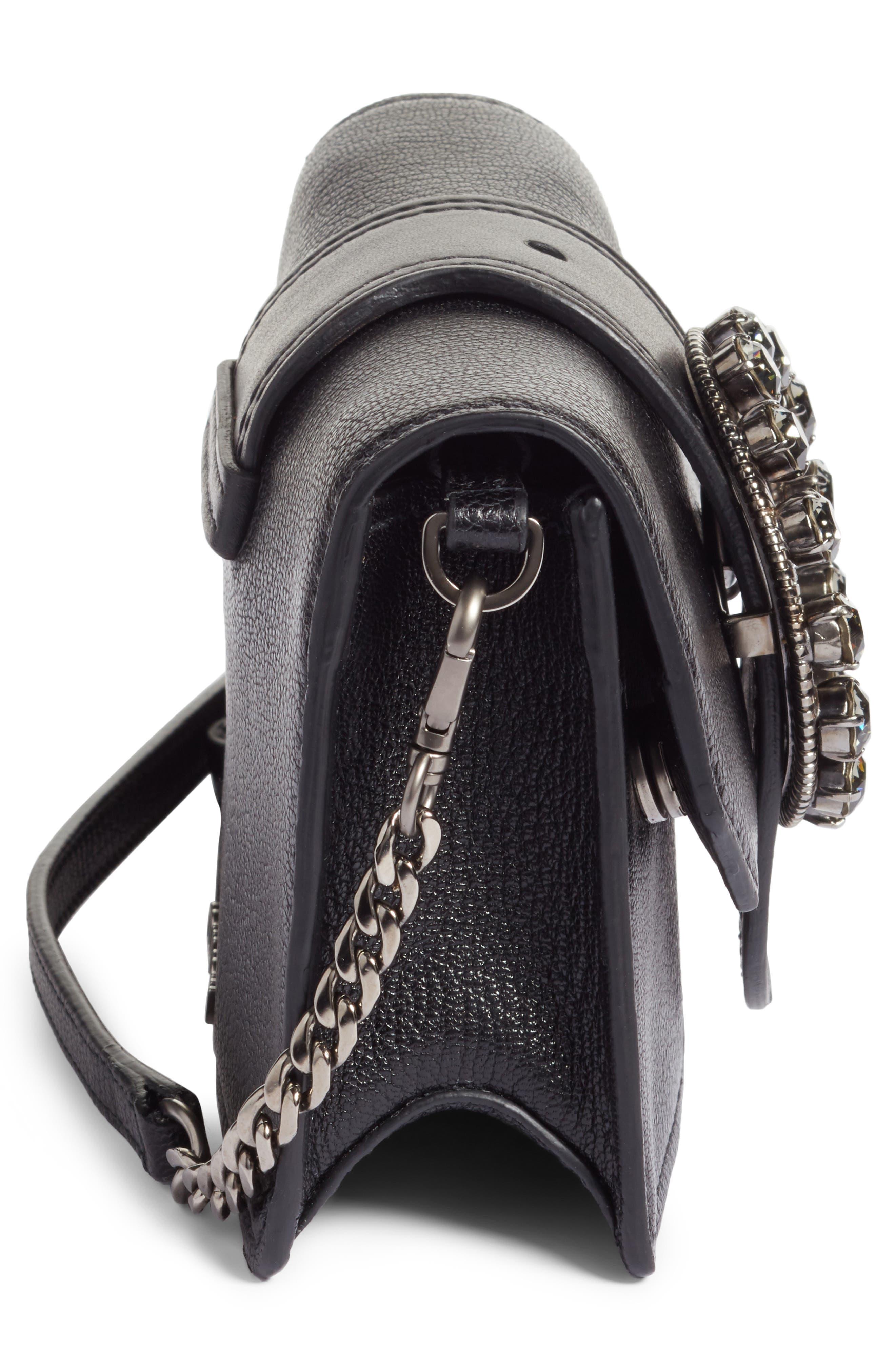 Lady Madras Crystal Embellished Leather Crossbody Bag,                             Alternate thumbnail 5, color,                             Nero 1