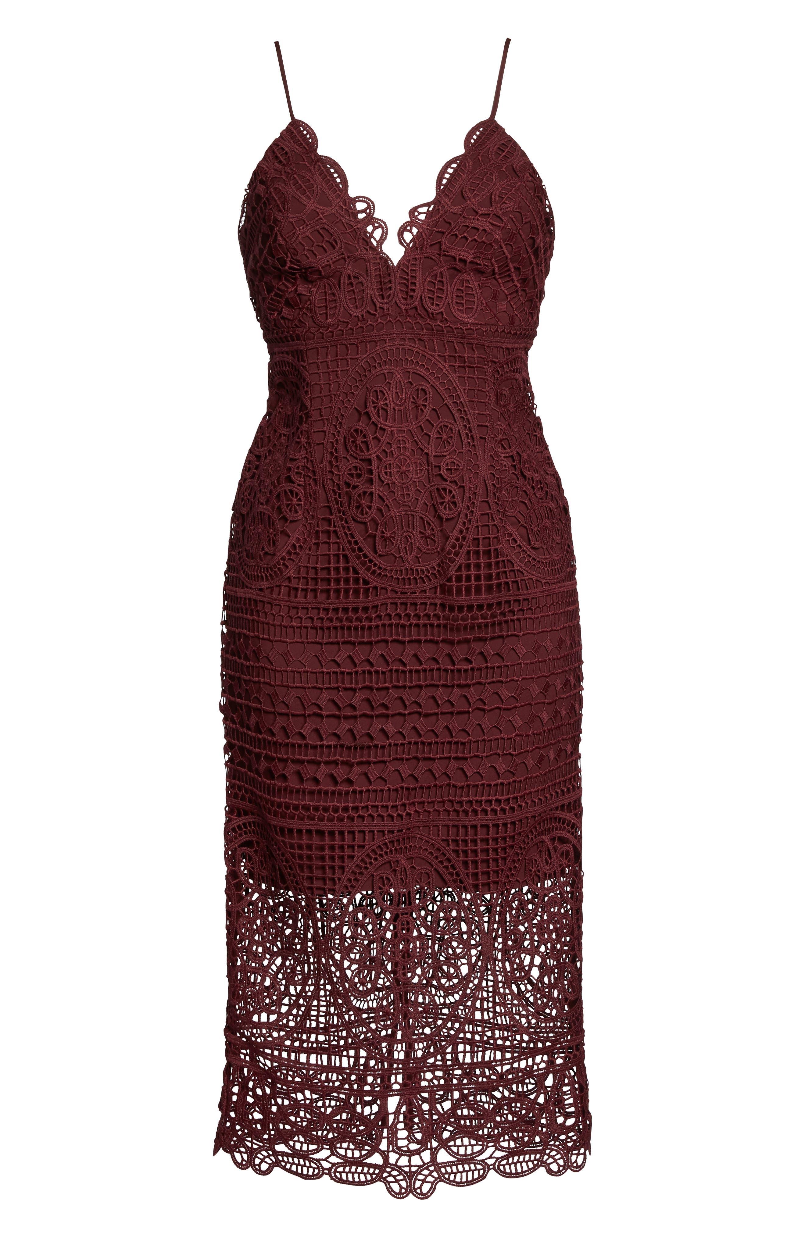 Versailles Lace Pencil Dress,                             Alternate thumbnail 6, color,                             Burgundy
