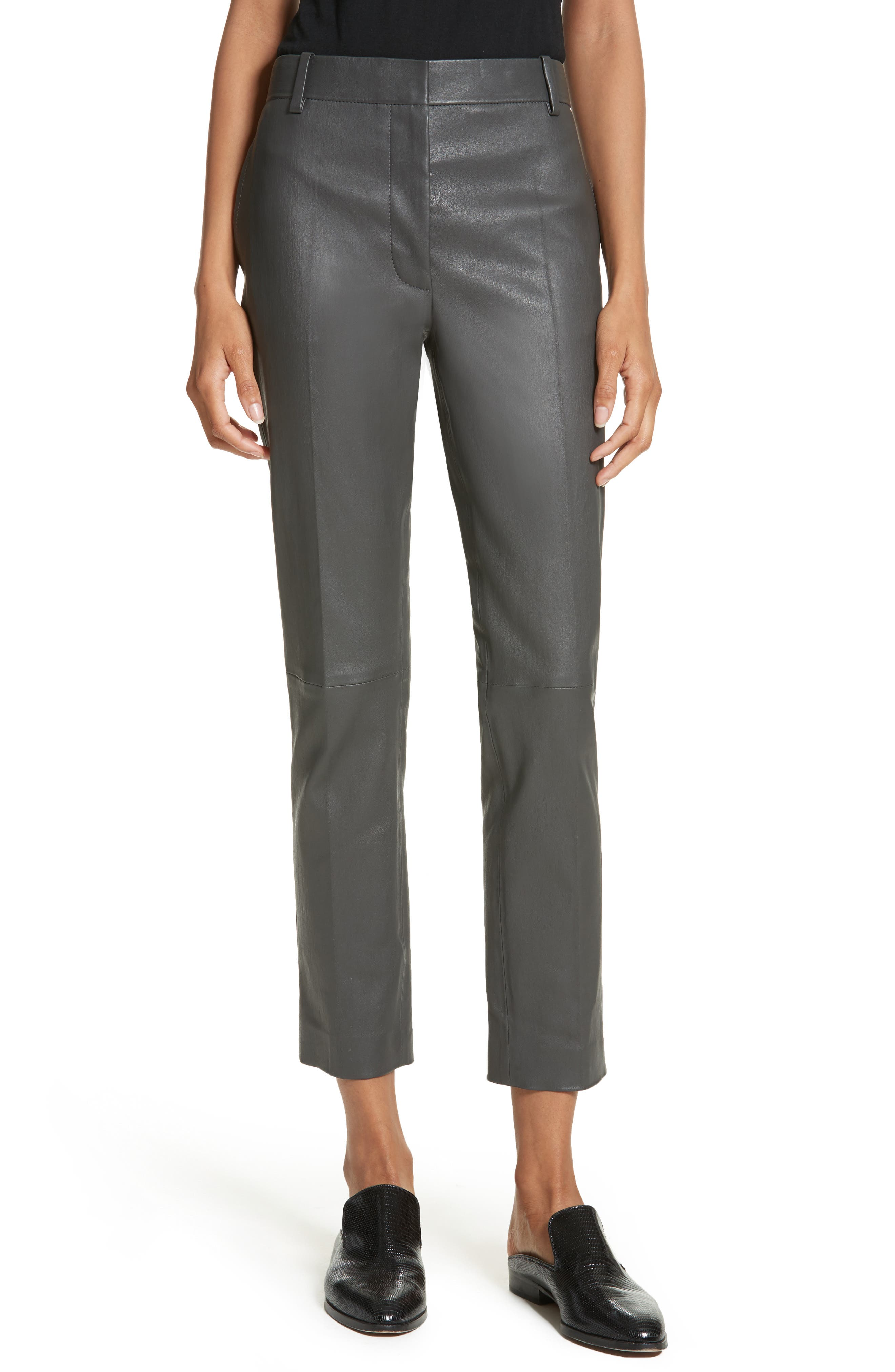 Stretch Zoom Leather Straight Leg Pants,                             Main thumbnail 1, color,                             Graphite